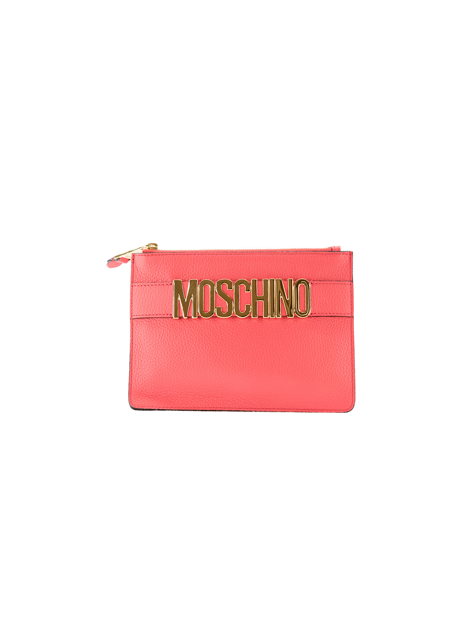 Logo Plaque Clutch from Moschino: Pink Logo Plaque Clutch with gold-tone top zip fastening, gold-tone hardware, hand strap with gold-tone plaque and internal logo patch.