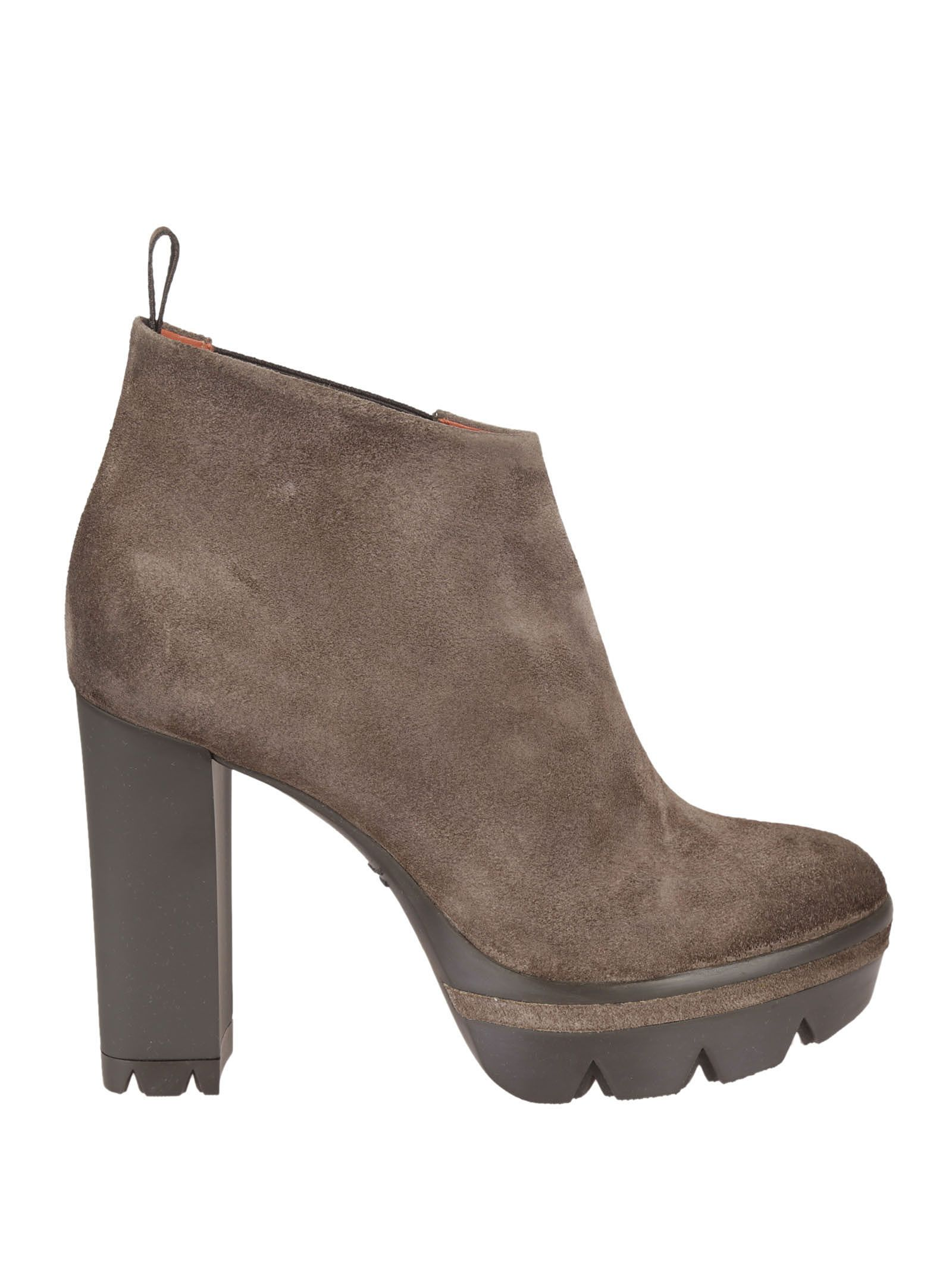 Brown Chunky Heel Booties - Santoni - Circus