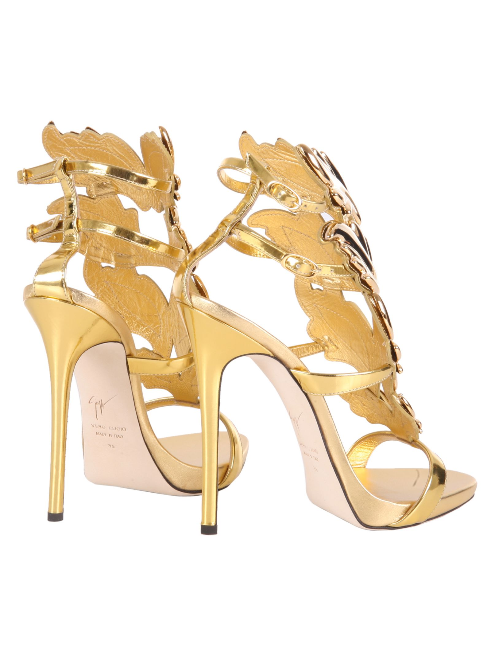 Patent Leather Sandals With Double Buckle Fastening Ankle Straps, Golden-metal Cruel Accessory, Leather Lining And Sole.