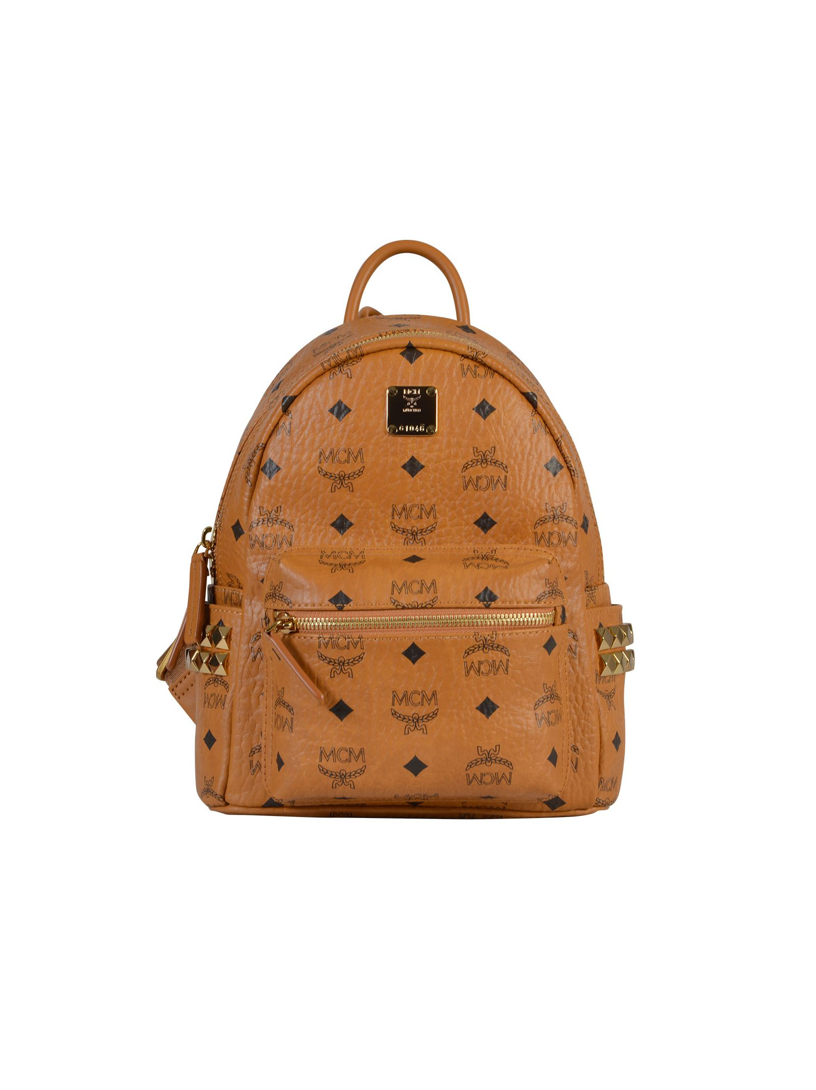 Stark small backpack - adjustable strap - zip fastening - front pocket - metallic studs - measurements: 22x28x15 cm, straps 76 cm