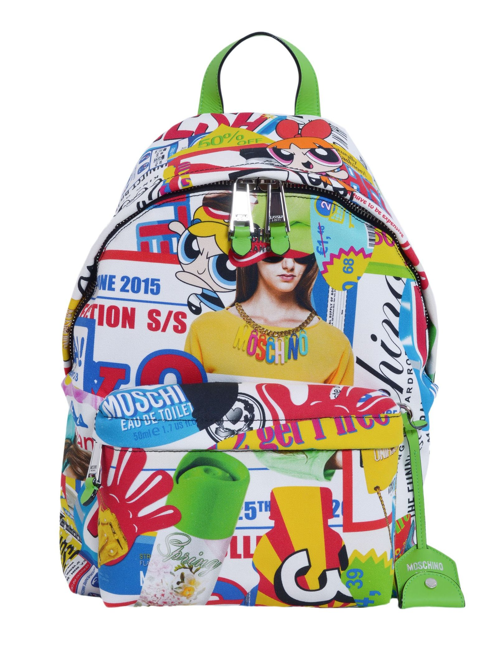 ONE LEATHER HANDLE- ADJUSTABLE SHOULDER STRAP- ZIP CLOSURE- ALL-OVER FANTASY PRINT- ONE FRONT ZIP POCKET- ONE INTERNAL ZIP POCKET- ONE INTERNAL PATCH POCKET- LINING- SIZE: 42 X 30 X 12. 5 CM- 44% COTTON, 41% PA, 15% POLYURETHANE - MADE IN ITALY