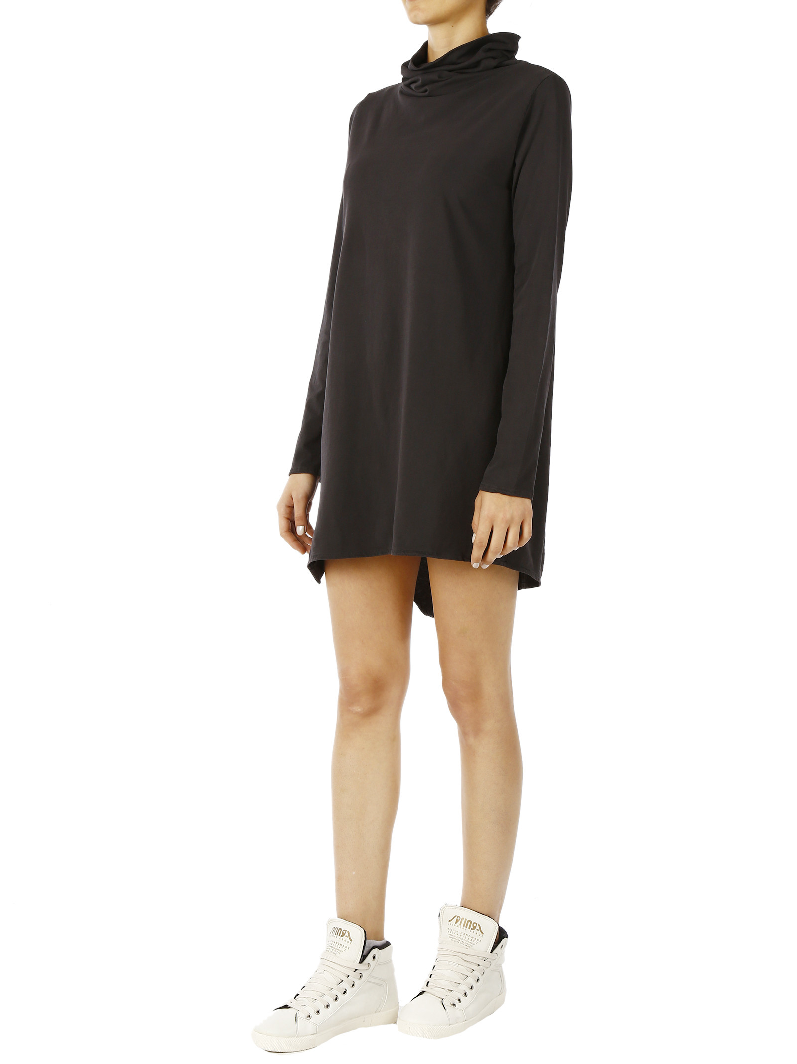 Altalana 100% Cotton High -neck Irregular Cut Dress