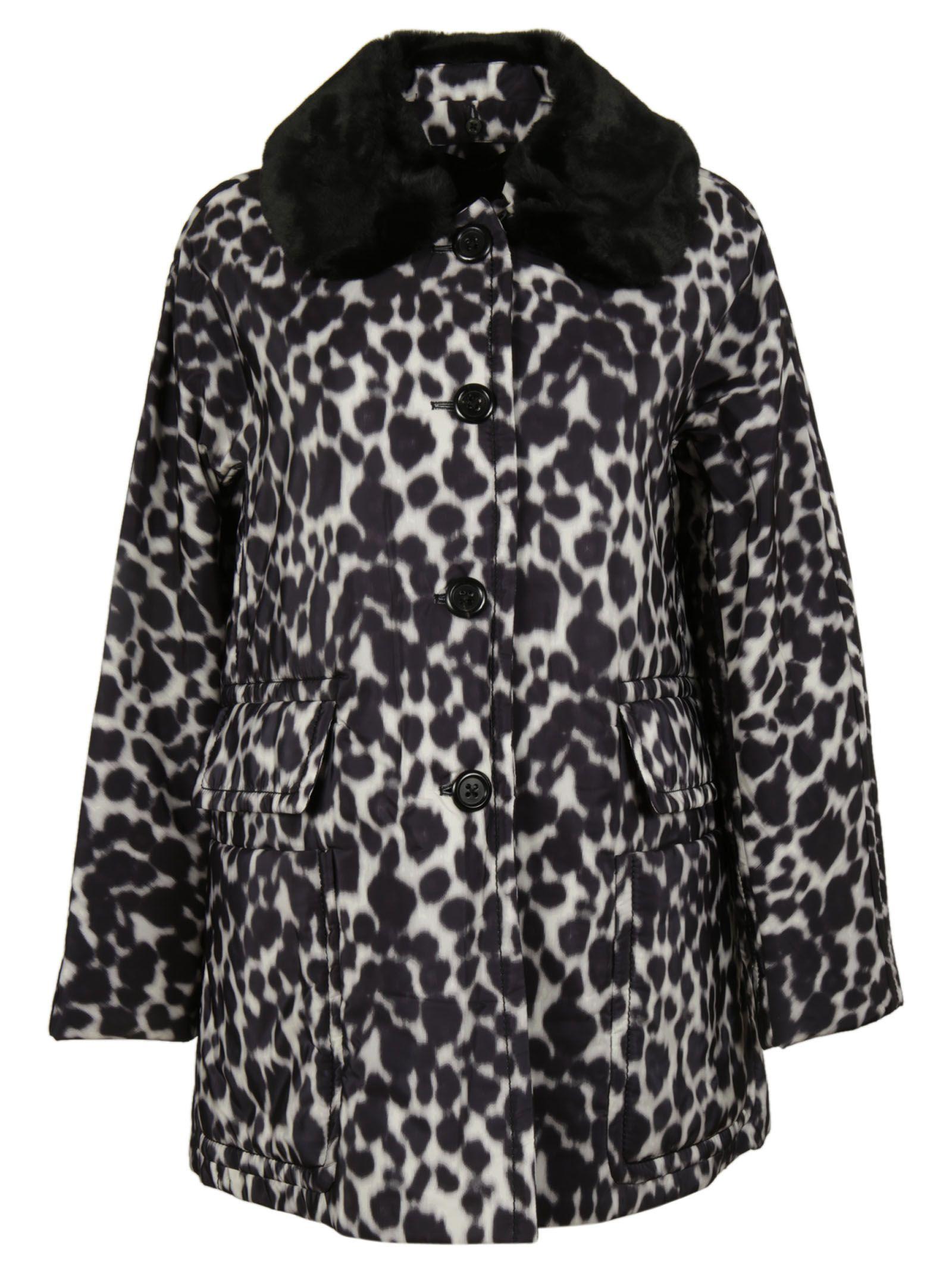 marc jacobs female 233680 ivory leopard print coat