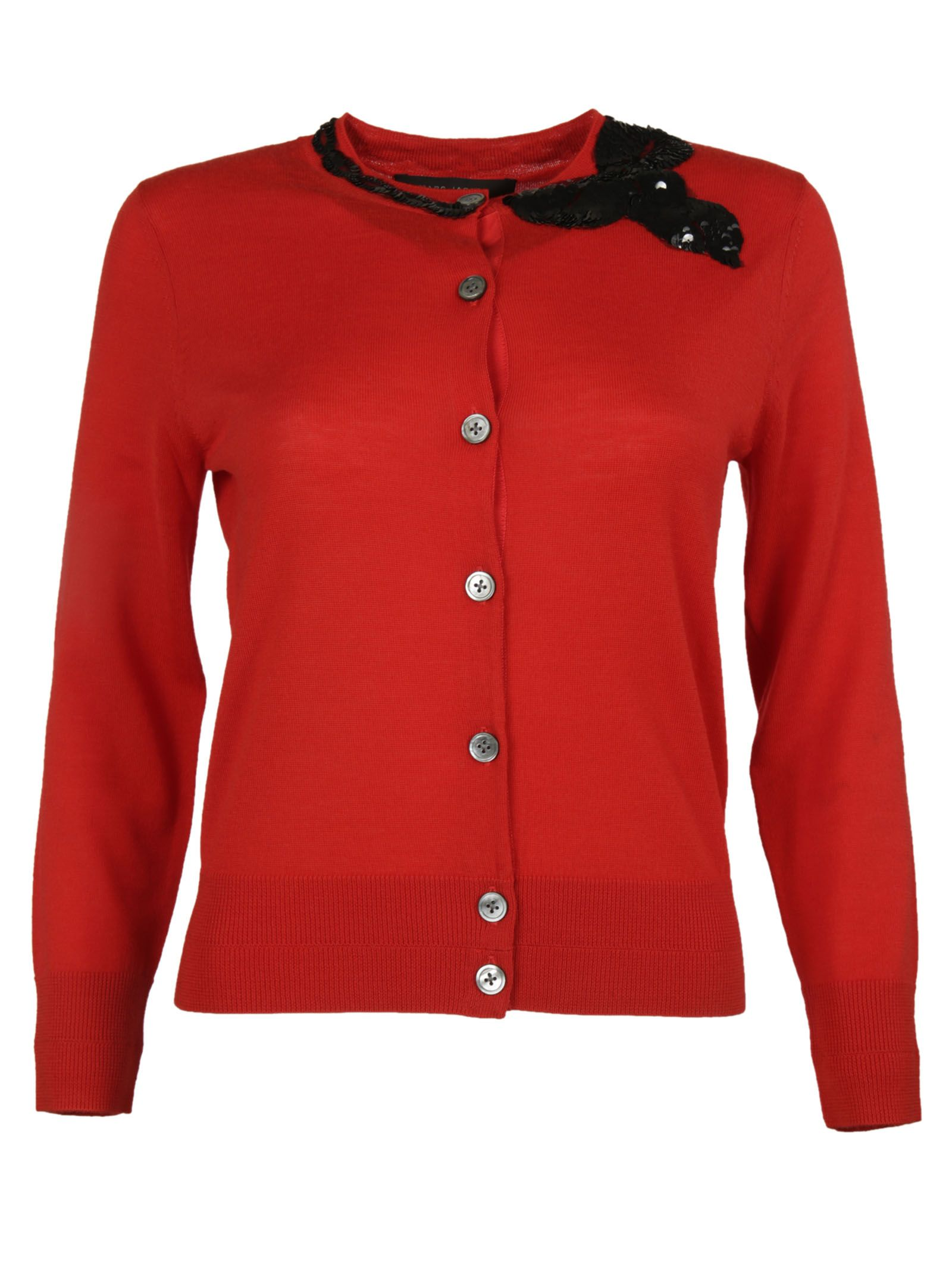 marc jacobs female 250960 red bow detail cardigan