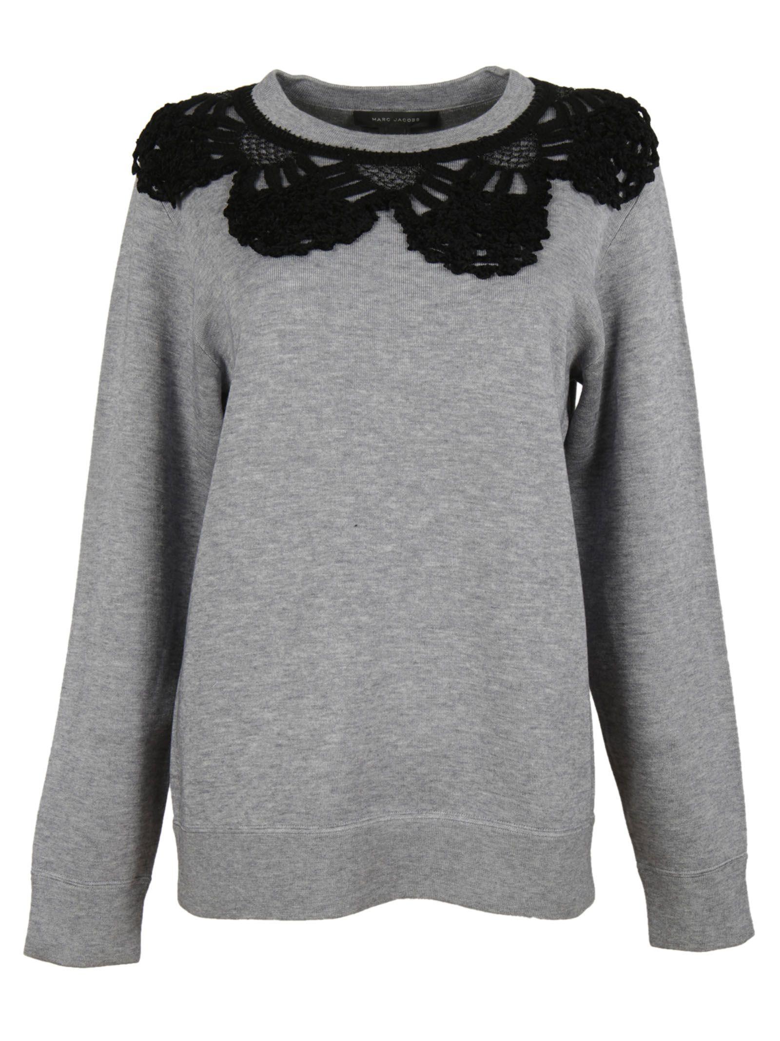 marc jacobs female 45906 melange grey crochet collar crewneck