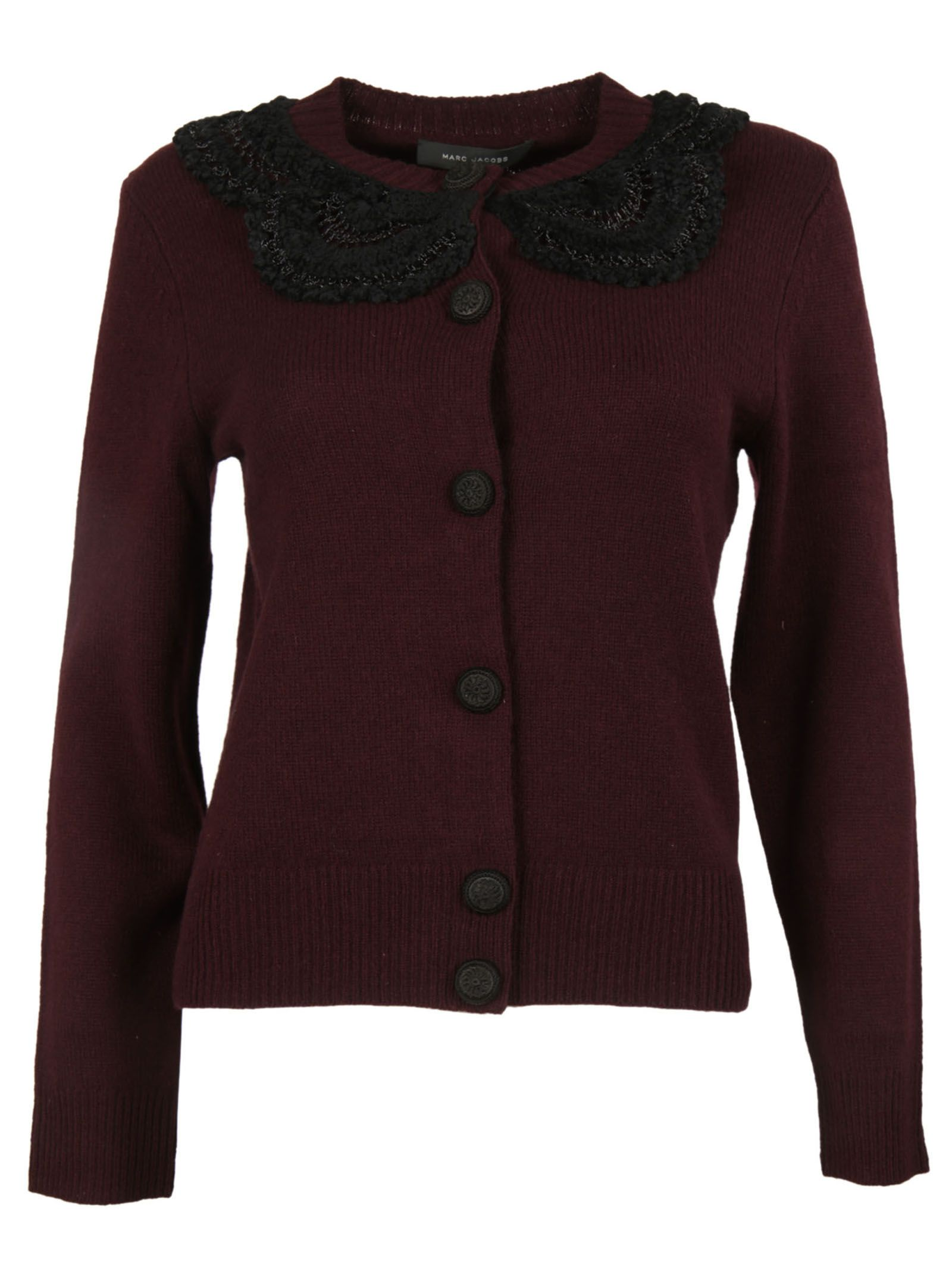 marc jacobs female  burgundy crochet collar cardigan