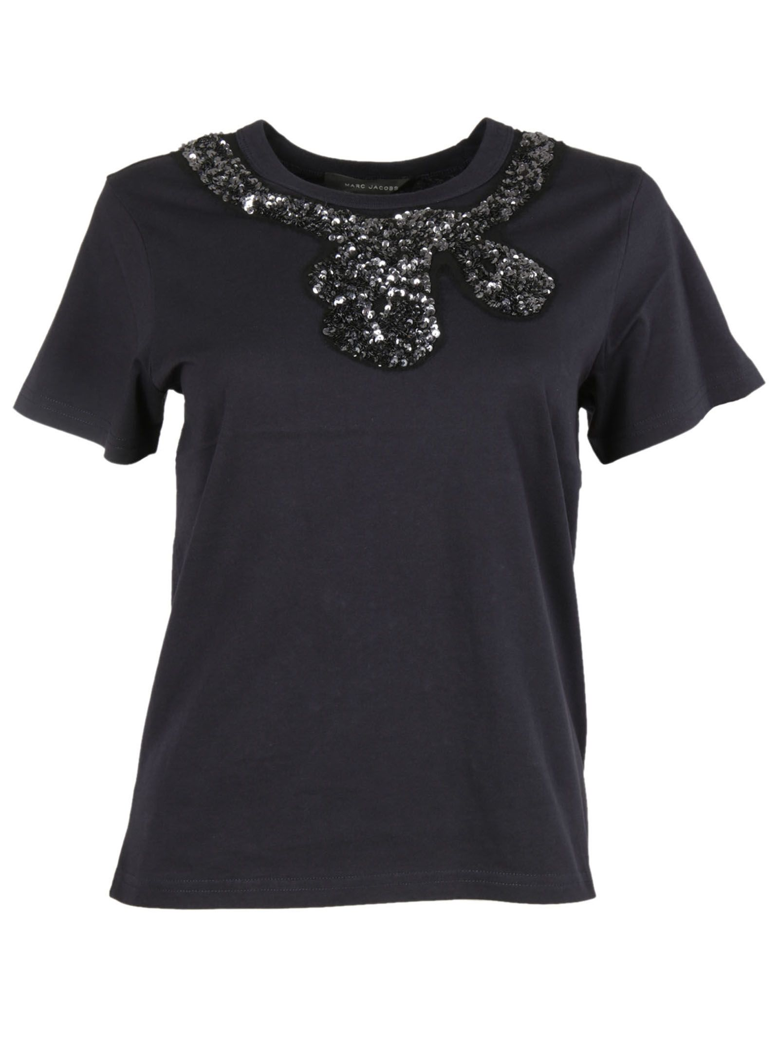 marc jacobs female 236621 navy sequins detail tshirt