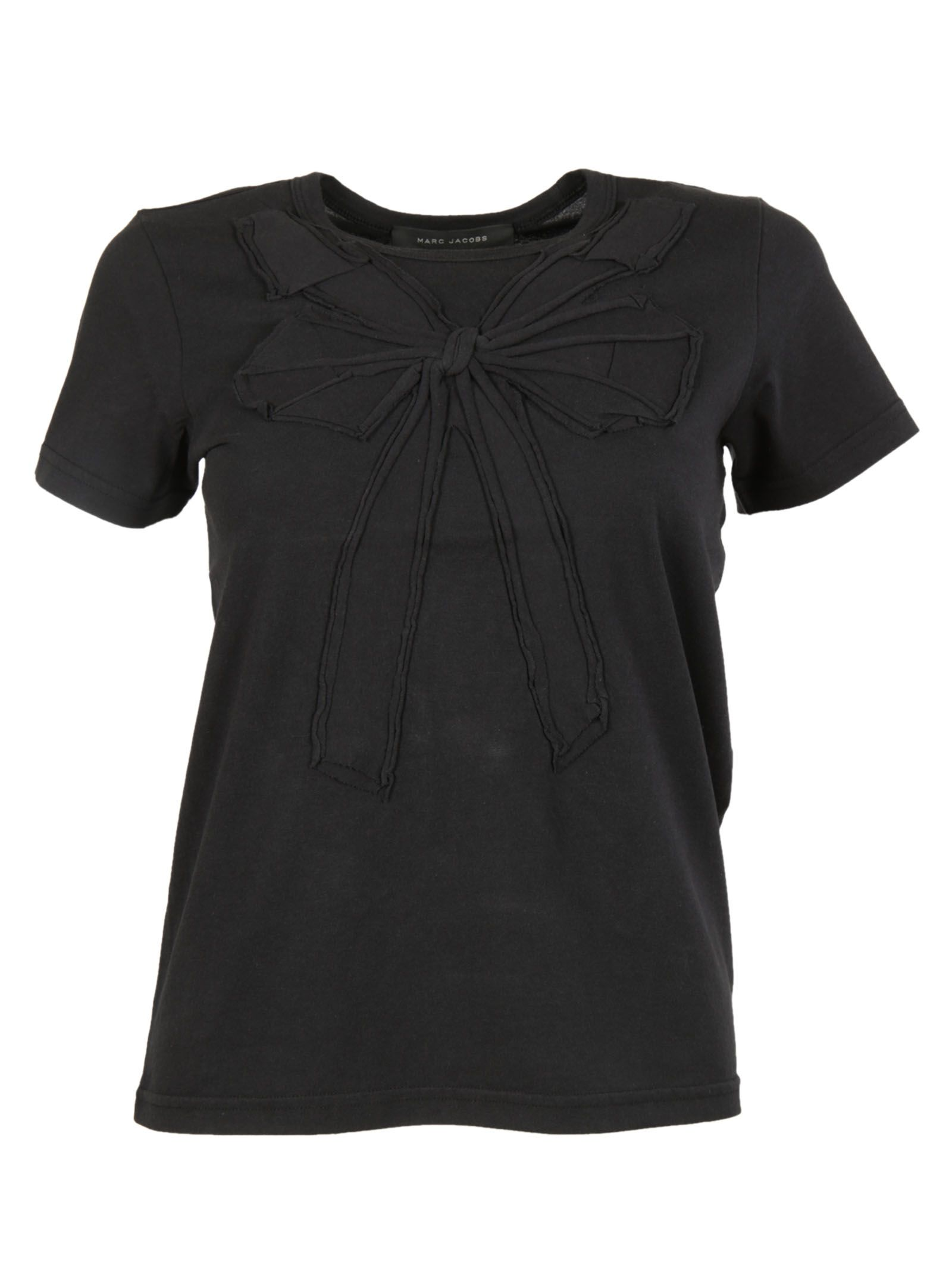 marc jacobs female 188971 black bow embroidery tshirt