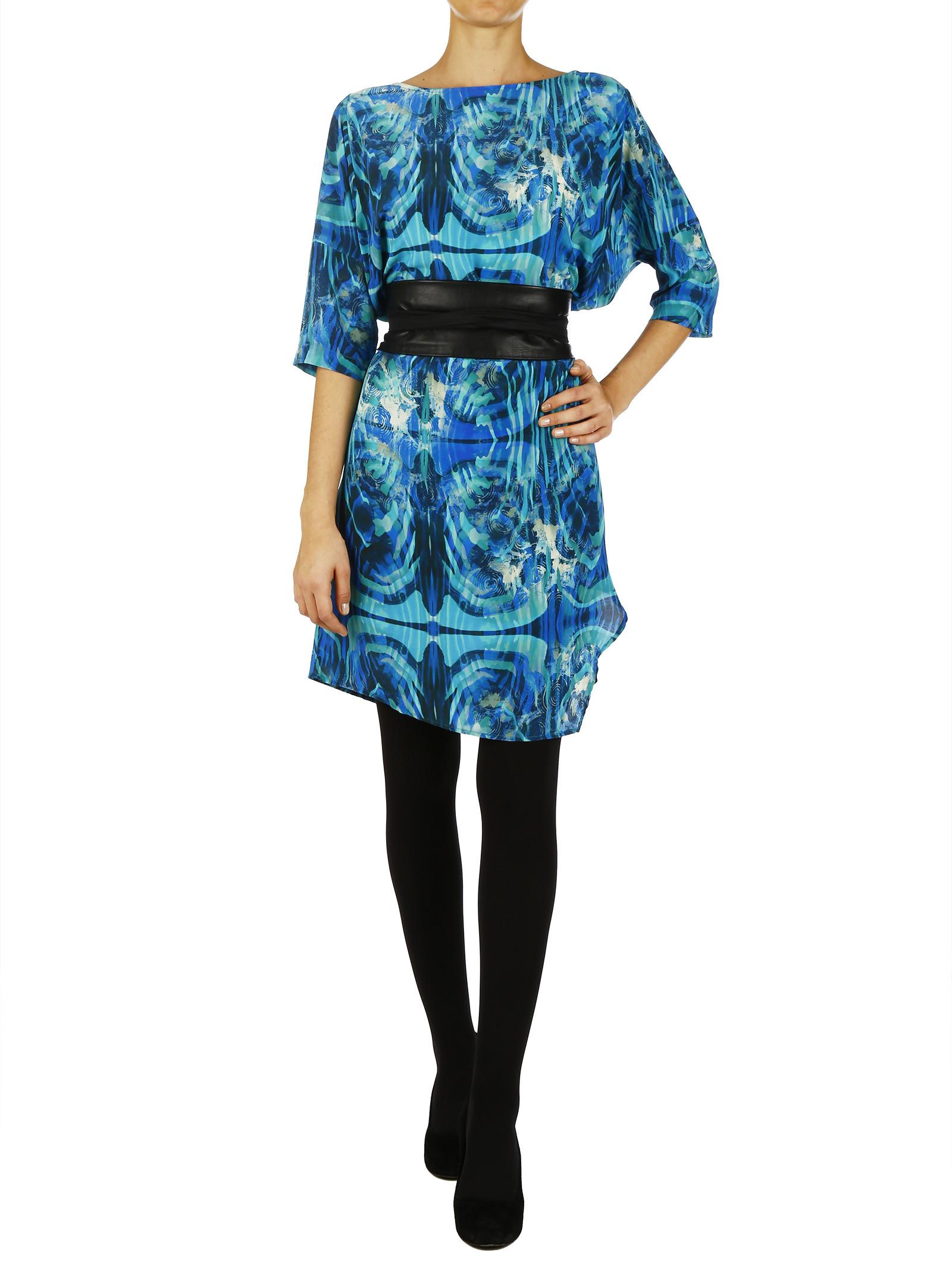 100% Printed Silk Kimono Dress With Lateral Slit