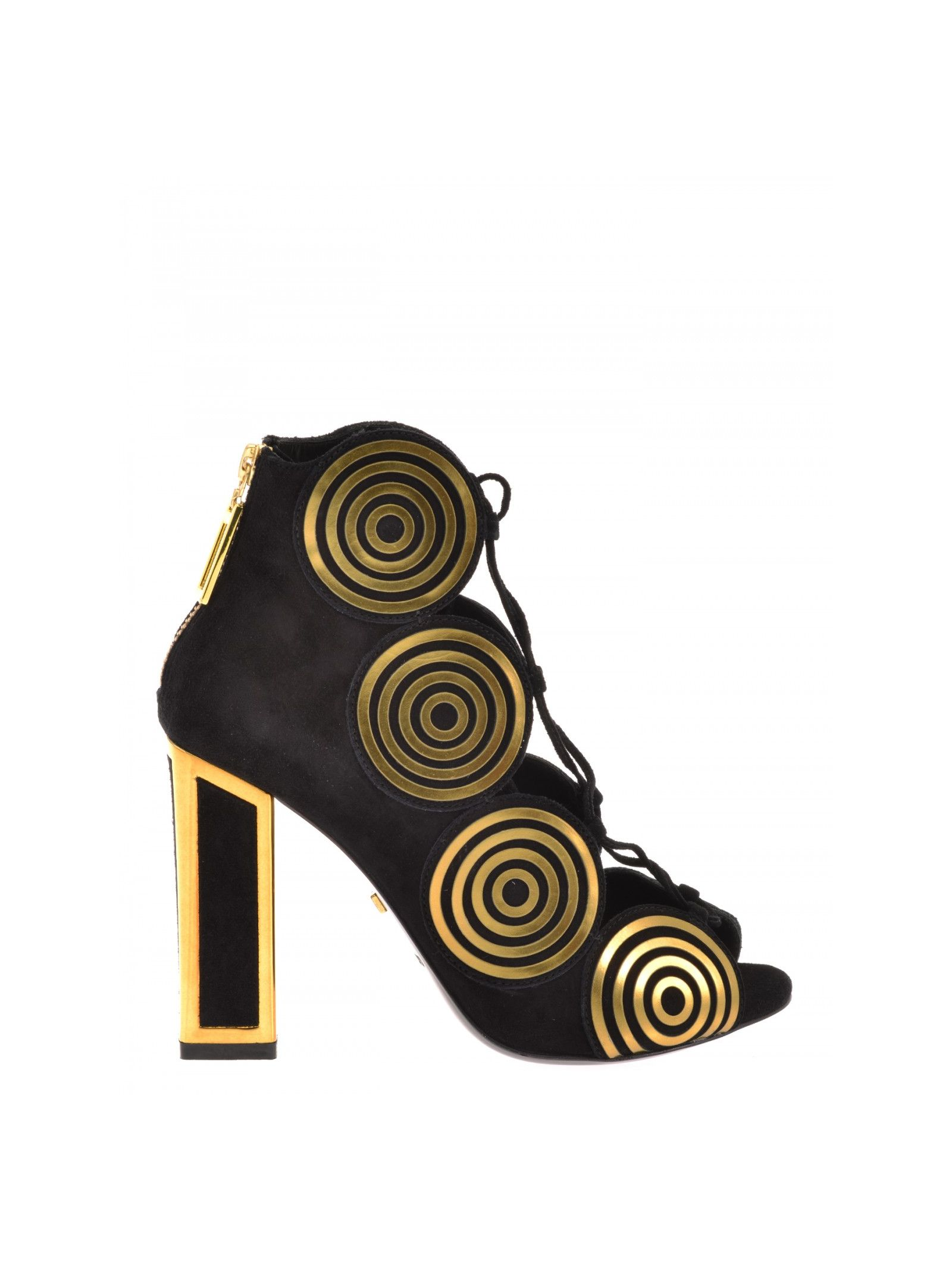Suede shoes Hill: 10 cm Sole: Leather Details: Suede pumps, Open toe, Laser-cut gold-tone leather, Spiral trim, Crossover closure at upper, Zip at back, Block heels with gold-tone metal detailing, Leather lining