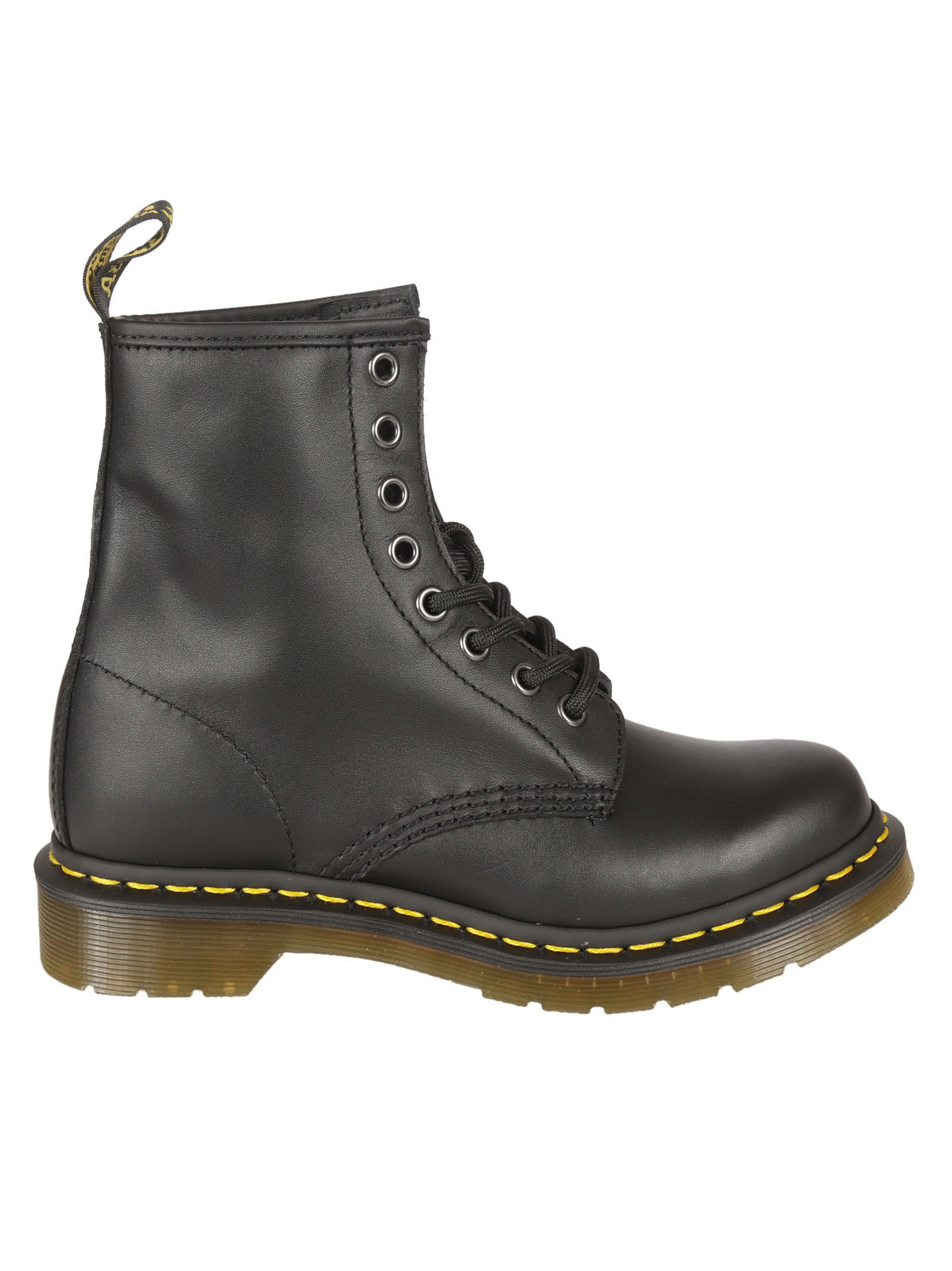 dr martens female black smooth hardlife laceup boots