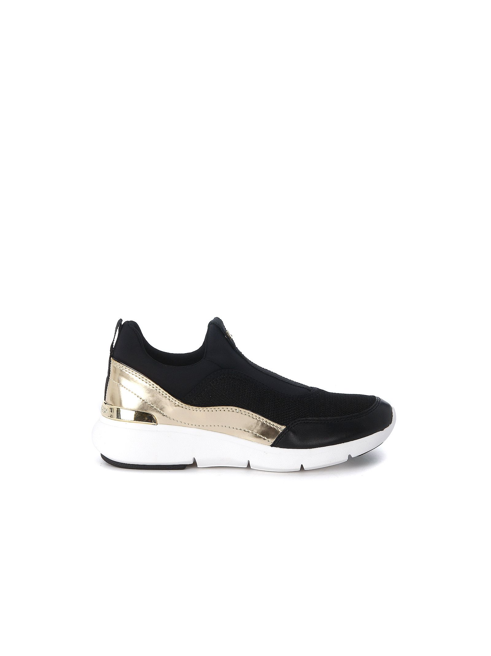 michael kors female  michael kors ace sneaker in black and gold neoprene and leather