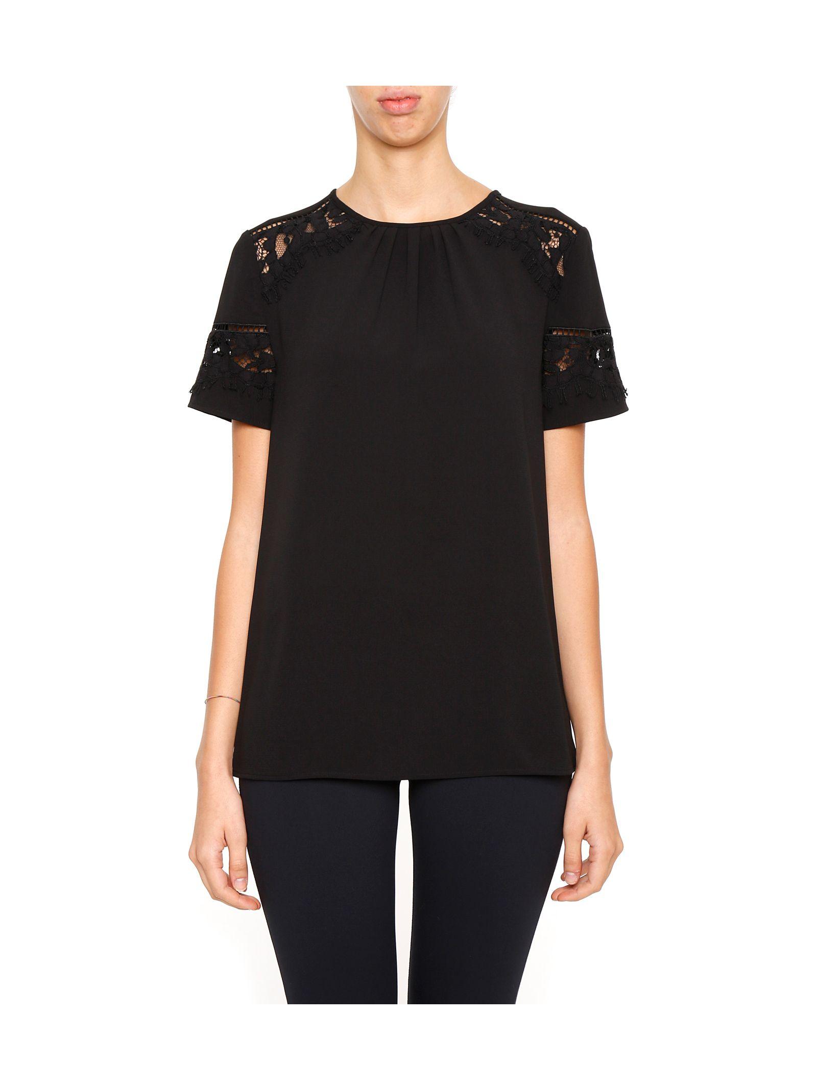 Bluză de damă MICHAEL Michael Kors, cu dantelă și mâneci scurte