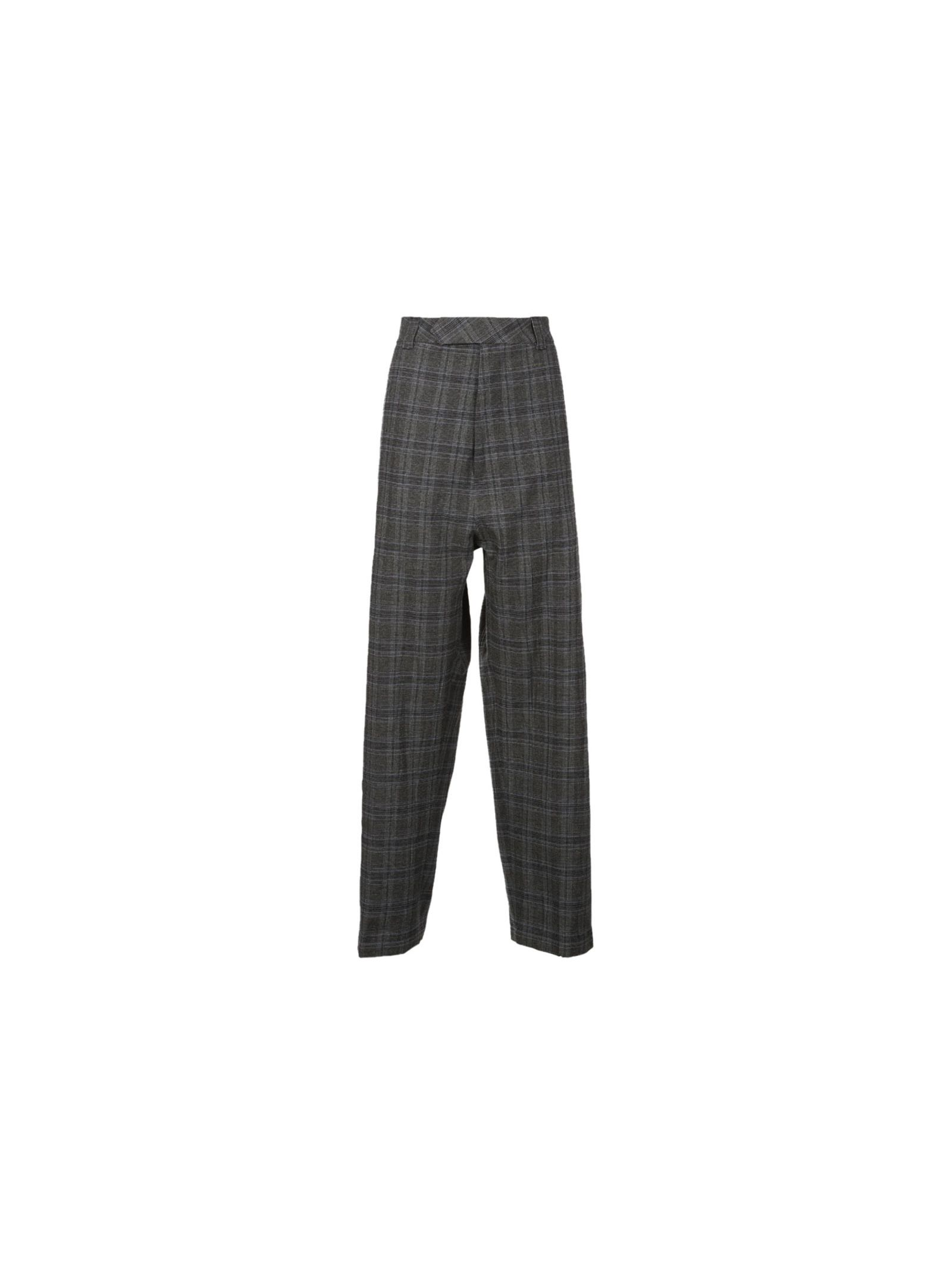 Baggy Suit Straight Checked Trousers from Vetements: Grey Baggy Suit Straight Checked Trousers with Concealed hook-and-eye and zip-fly front fastening, high-rise, belt loops, all-over check pattern, slip pockets, pressed entre crease at front and back, jet