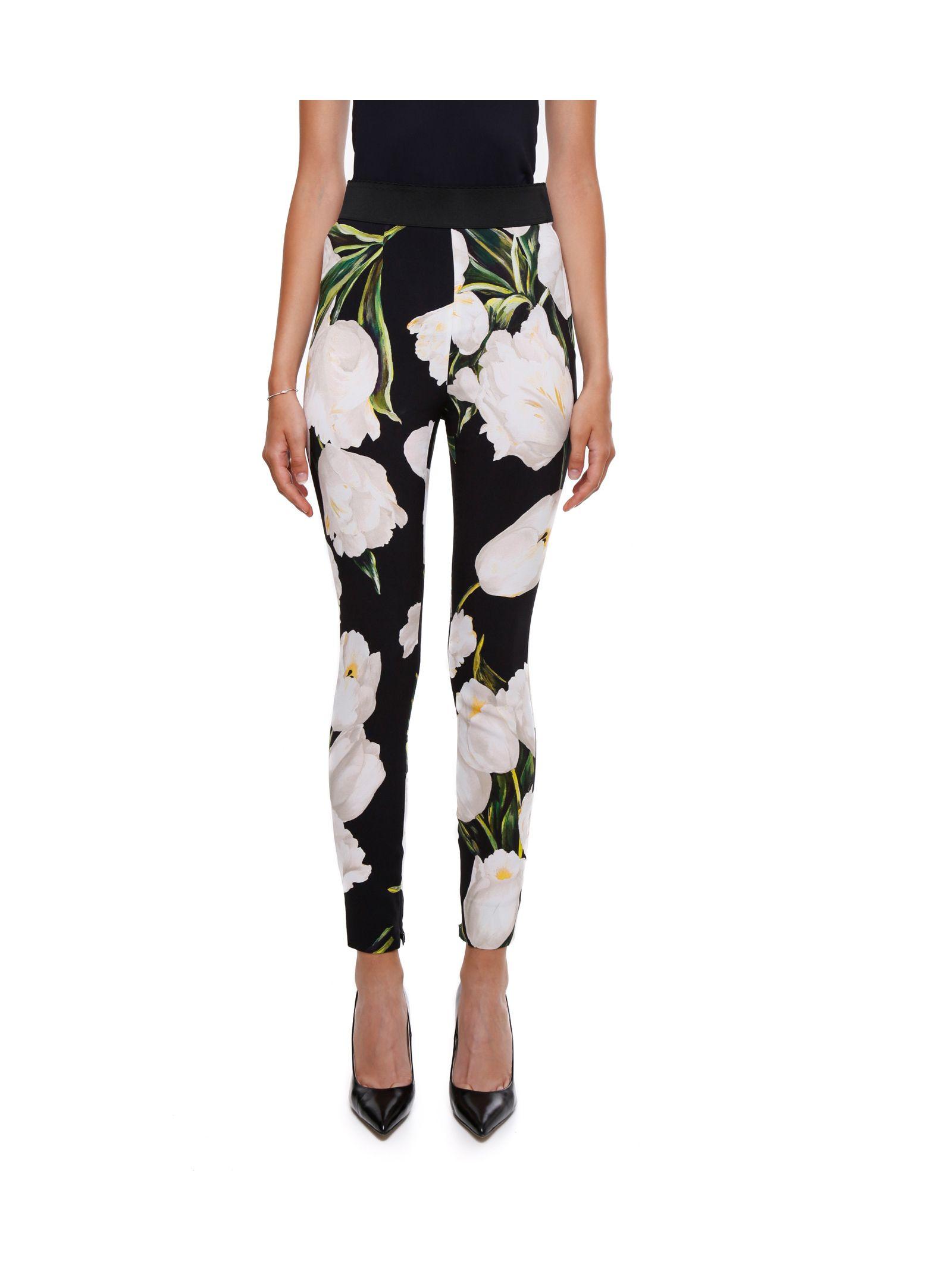 Pantaloni de damă DOLCE & GABBANA, elastici, cu talie înaltă și imprimeu floral