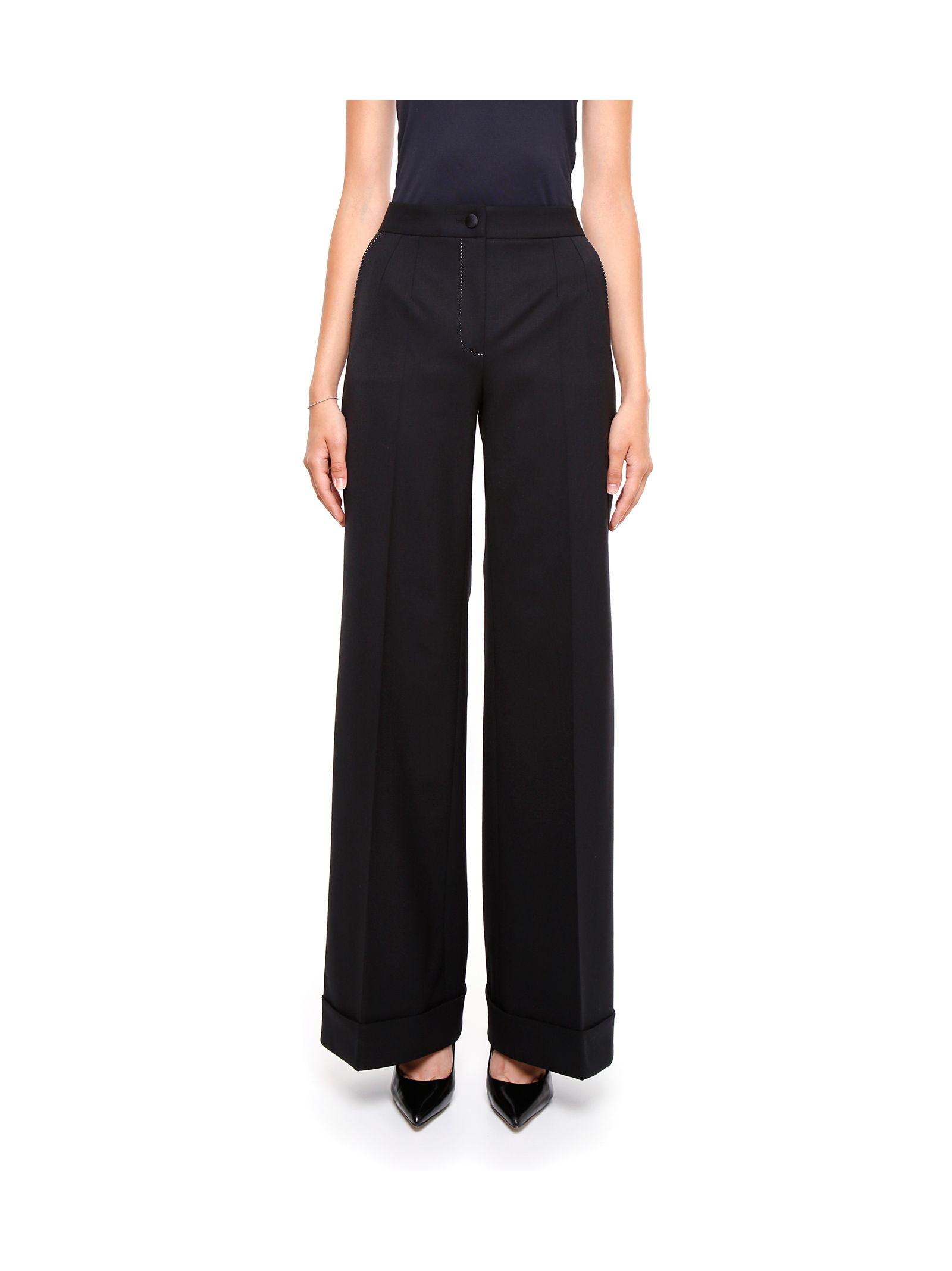 Pantaloni de damă DOLCE & GABBANA, eleganți, largi, cu talie înaltă și pliuri