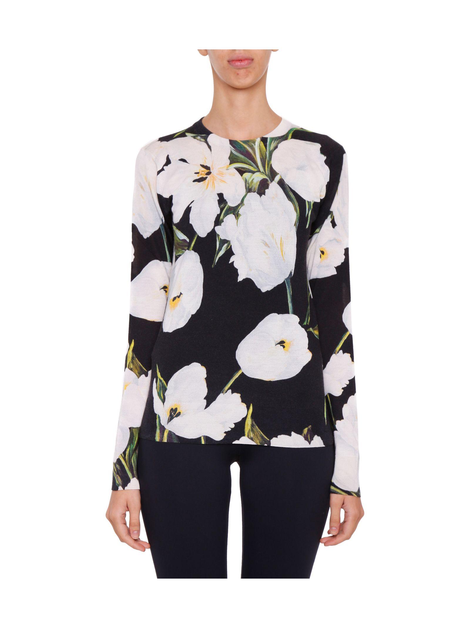 Pulover de damă DOLCE & GABBANA, din cașmir, cu imprimeu floral