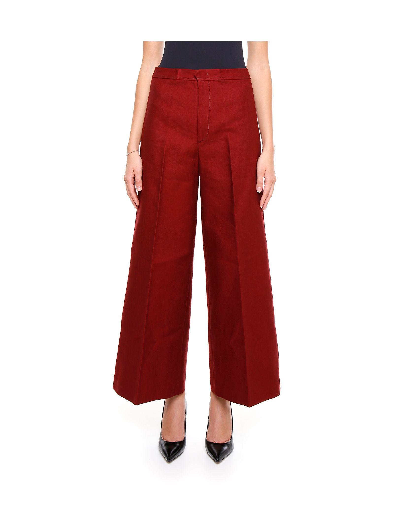 Pantaloni de damă ISABEL MARANT, evazați, din bumbac, cu talie înaltă