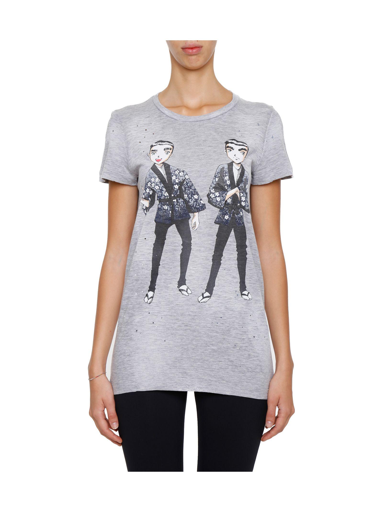 Tricou de damă DSQUARED2, casual, din bumbac, cu imprimeu