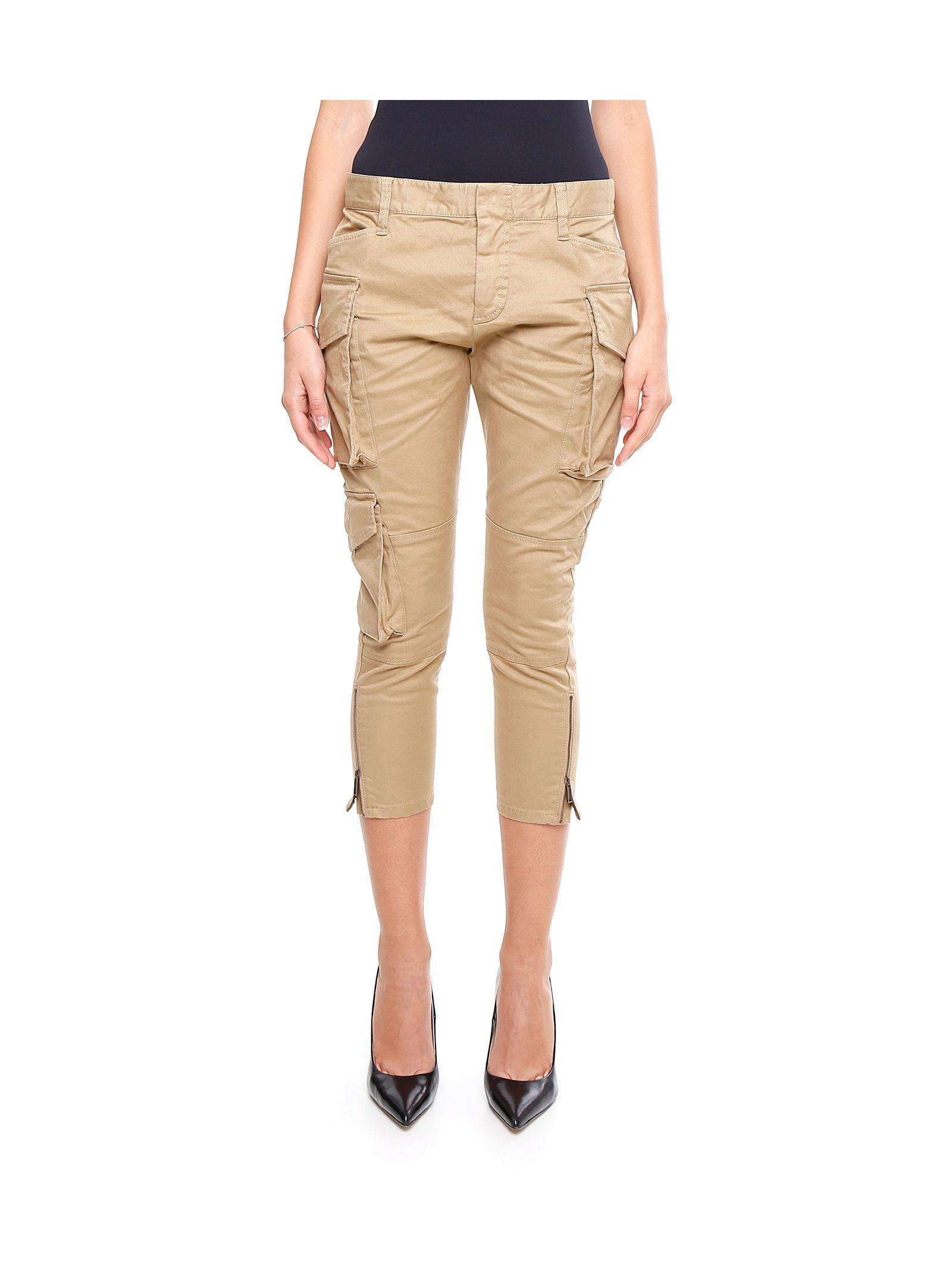 Pantaloni de damă DSQUARED2, fashion, cu fermoare și buzunare
