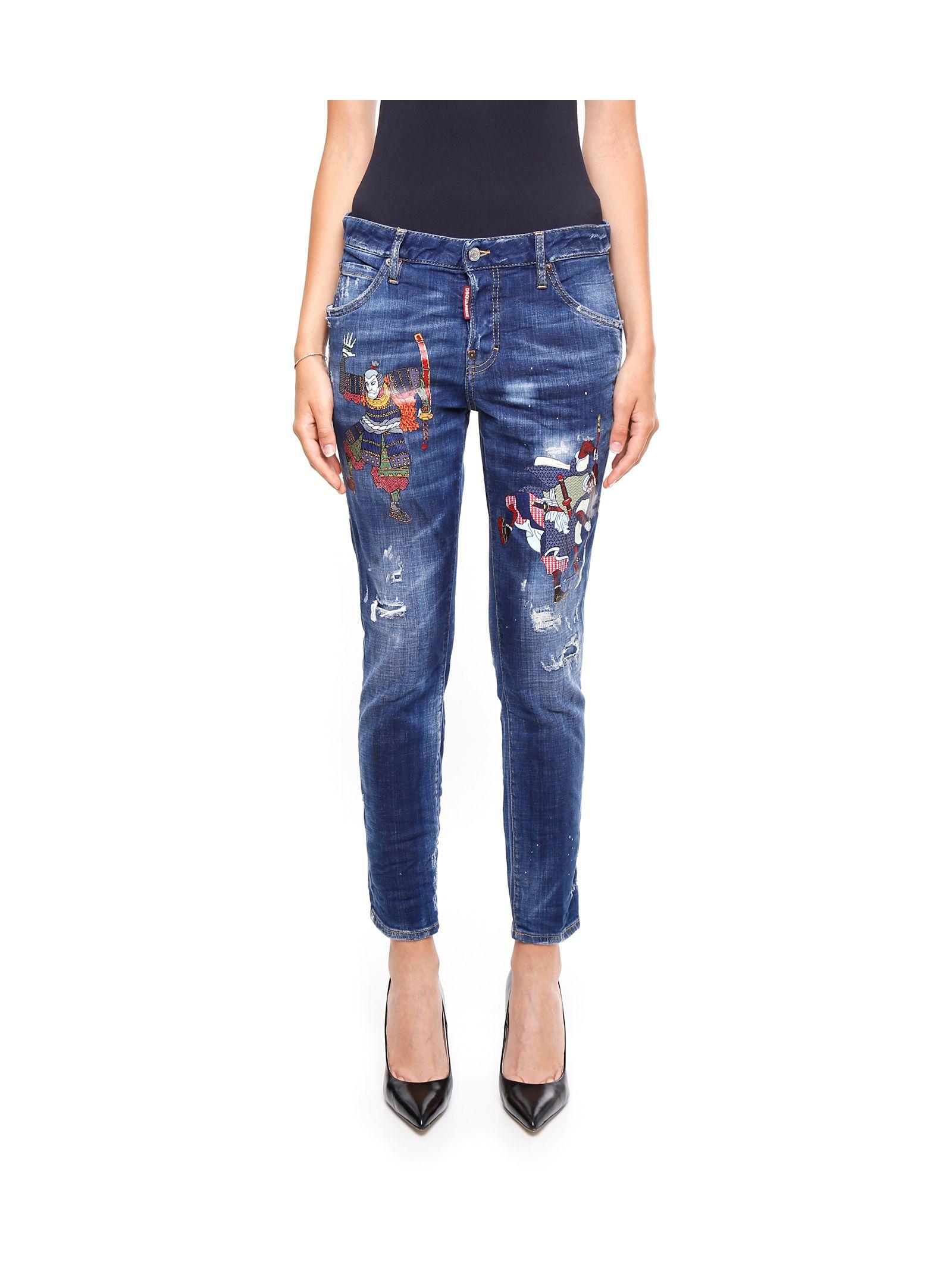 Jeanși de damă DSQUARED2, din bumbac, cu imprimeu