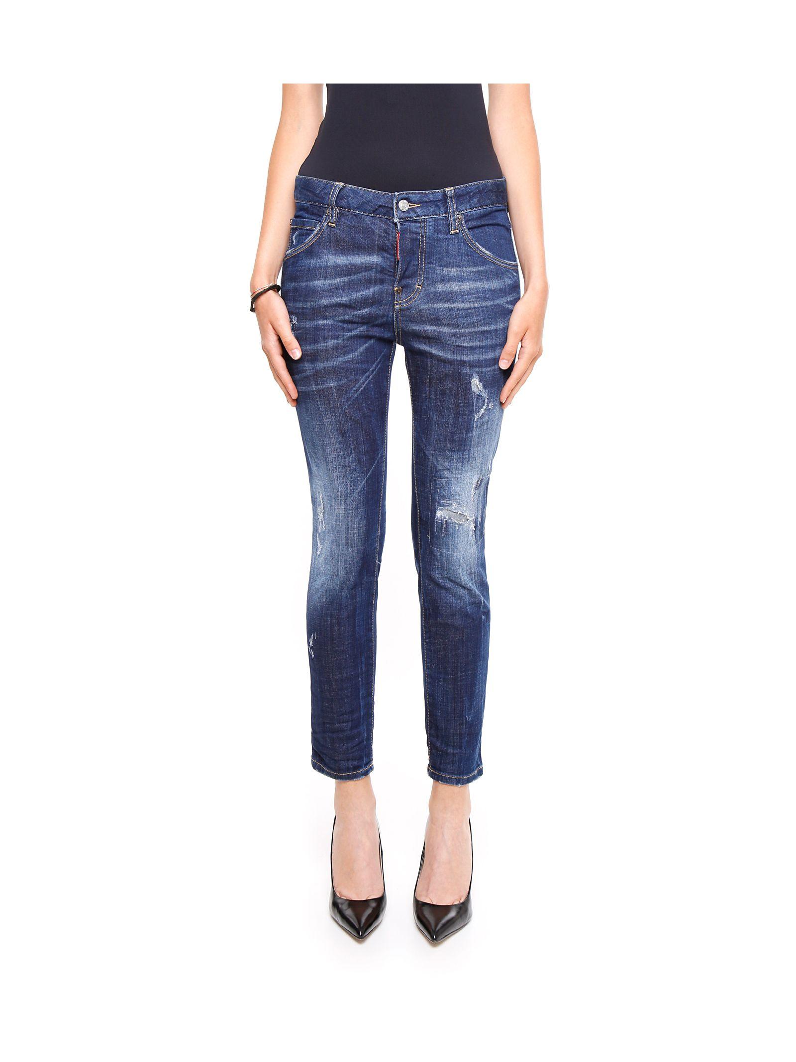Jeanși de damă DSQUARED2, din bumbac, cu talie înaltă