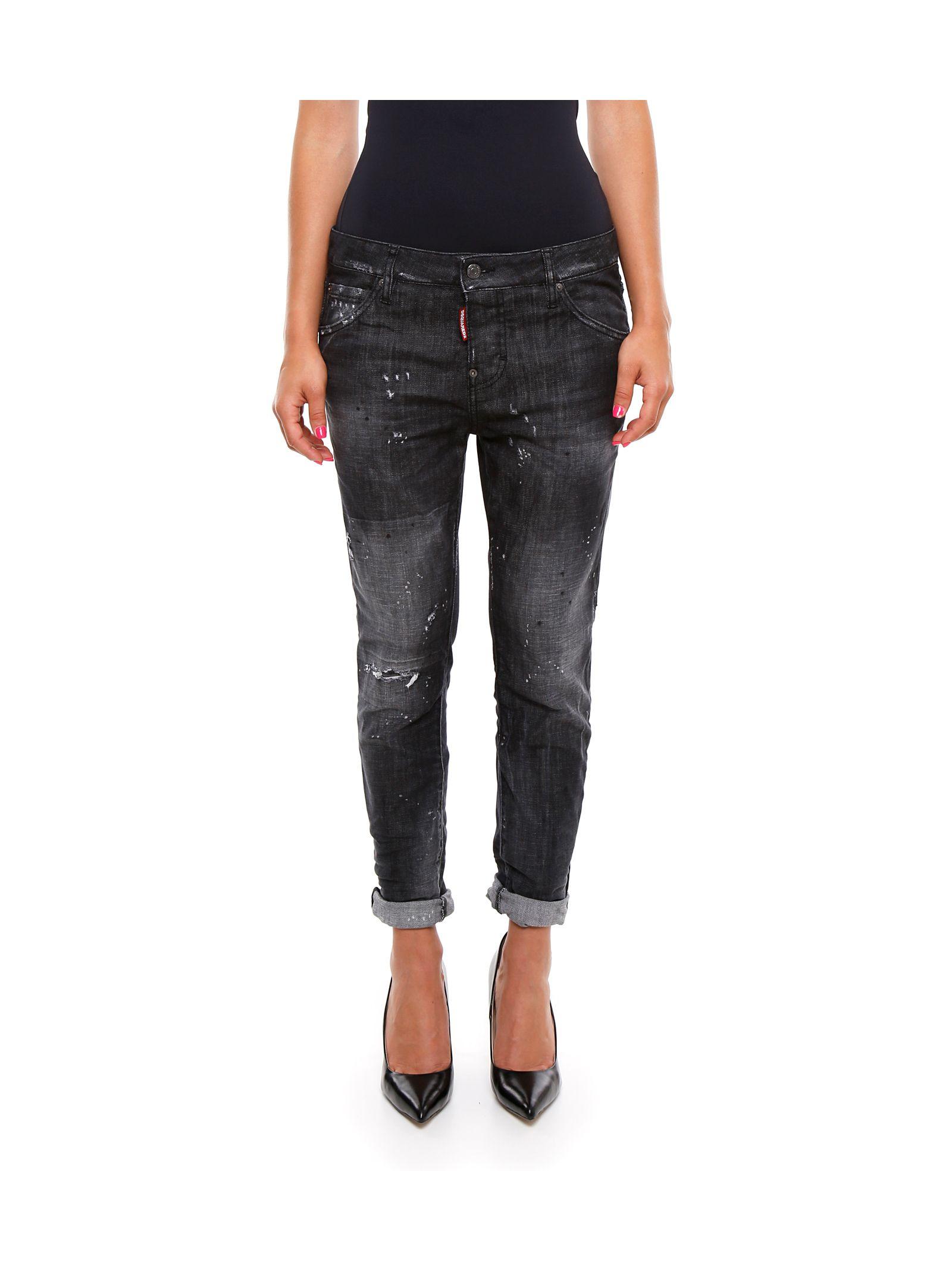 Jeanși de damă DSQUARED2, cu talie înaltă, model fashion