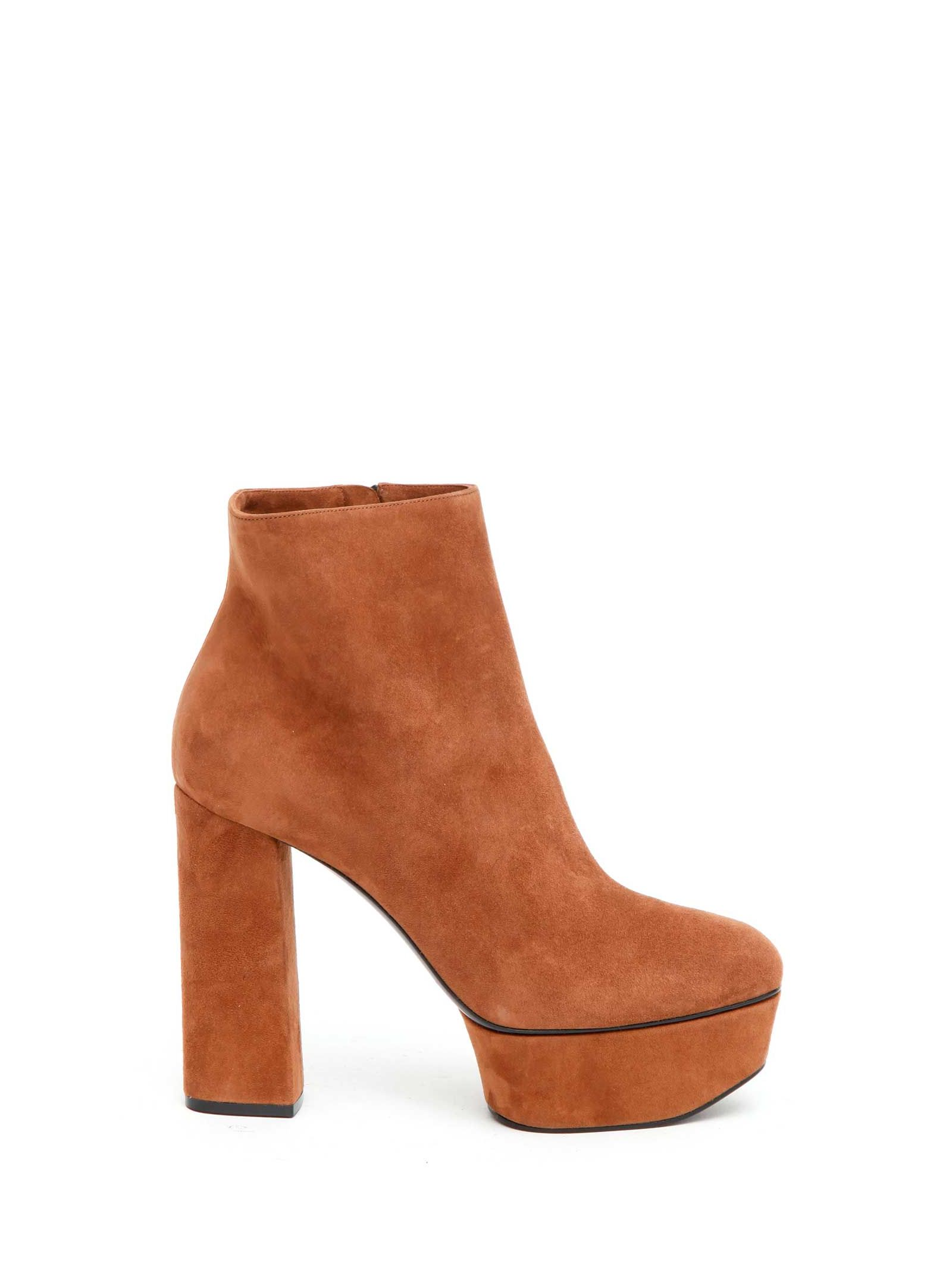 Suede platform booties featuring side zip closure from Casadei. Heel: 120mm.