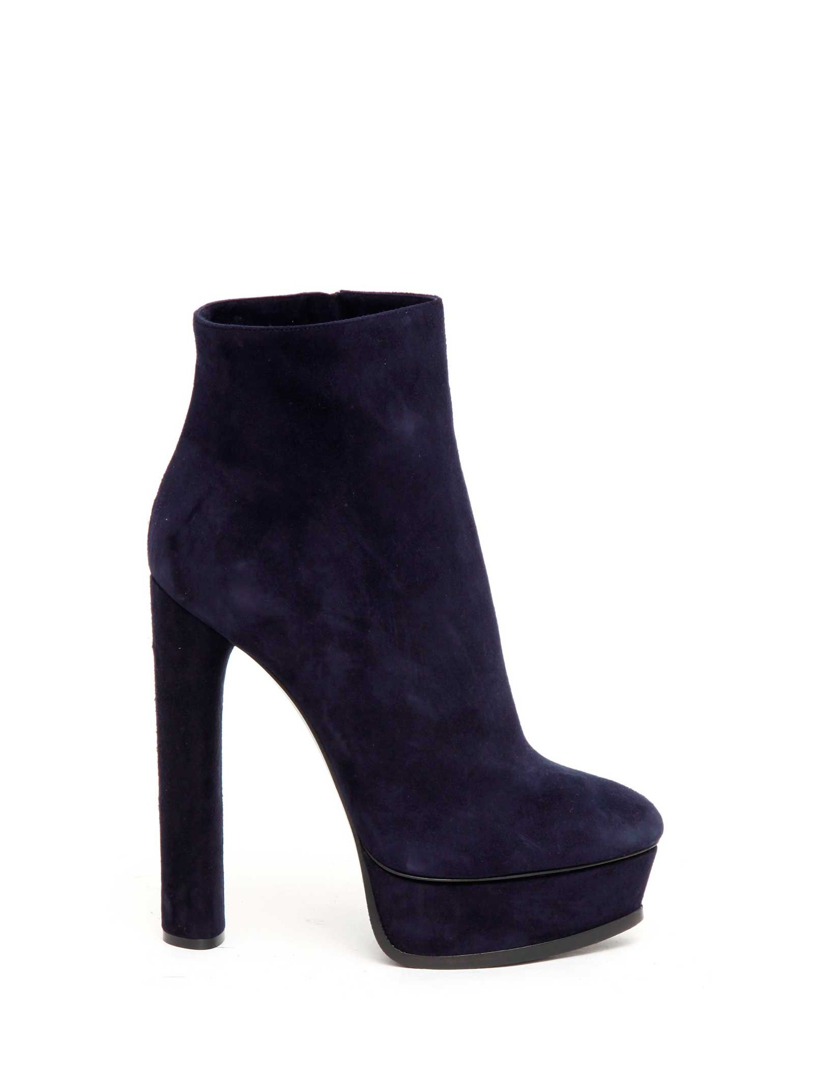 Suede platform booties featuring side zip closure from Casadei. Heel: 140mm.
