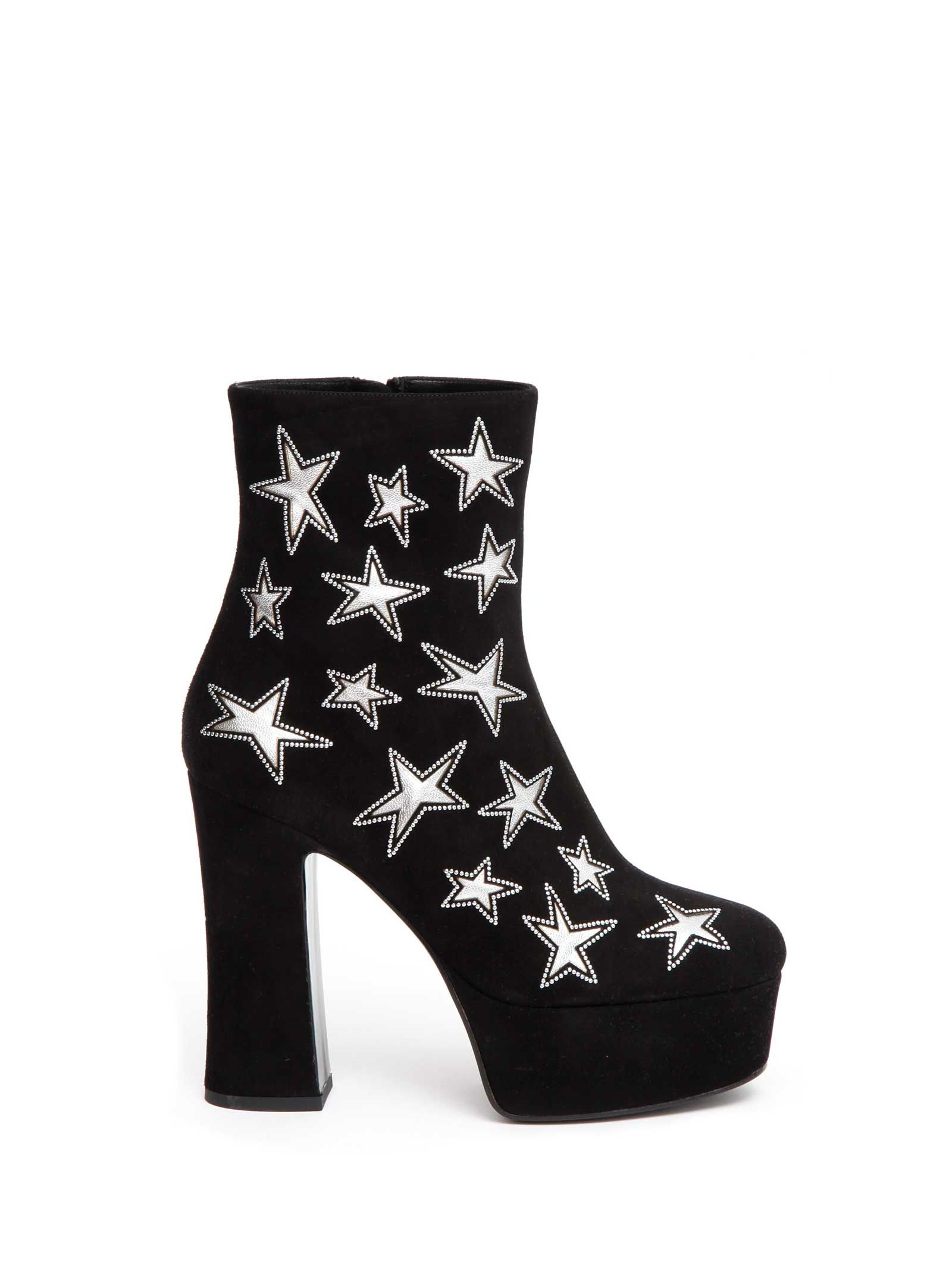 Black suede platform 'Candy 80 star' ankle boots with inlaid stars with micro studs and thick heel from Saint Laurent.