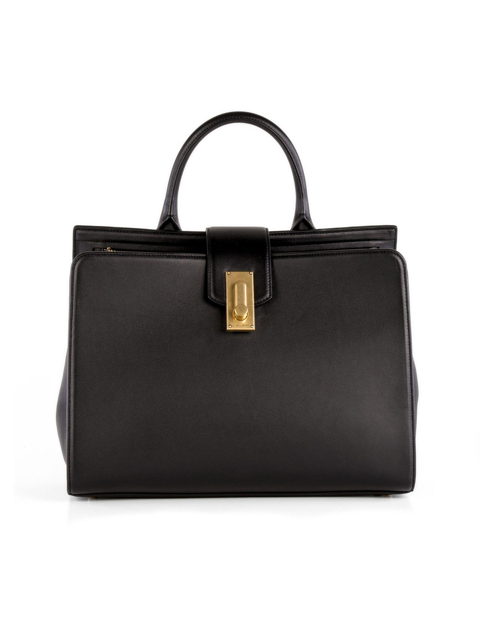marc jacobs female 188971 marc jacobs black leather handle bag
