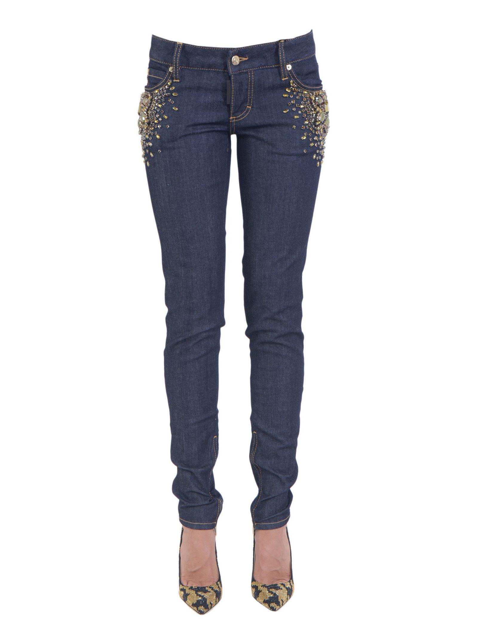 Jeanși de damă DSQUARED2, fashion, cu elemente Swarovski