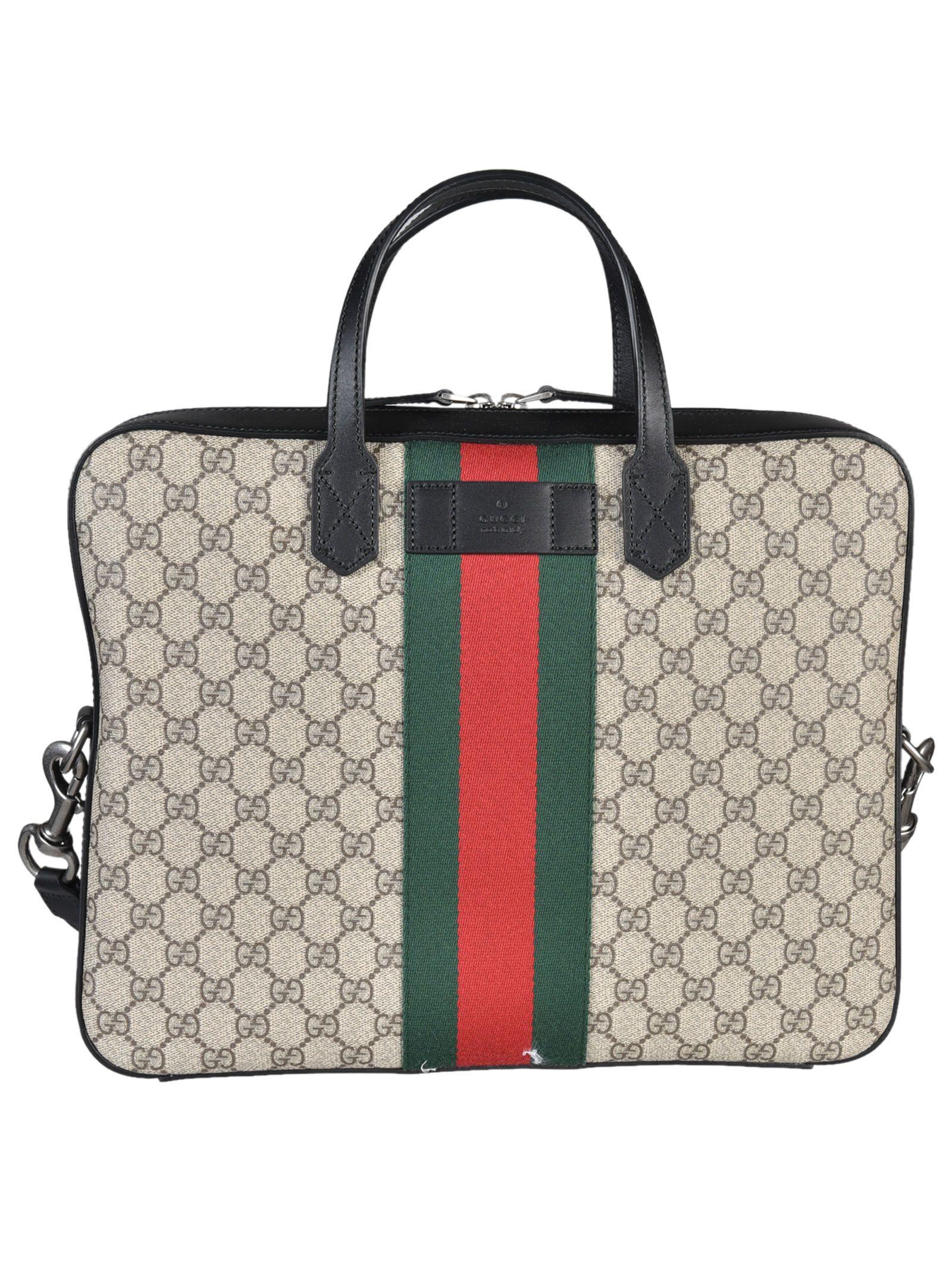 gucci male gucci web gg supreme briefcase
