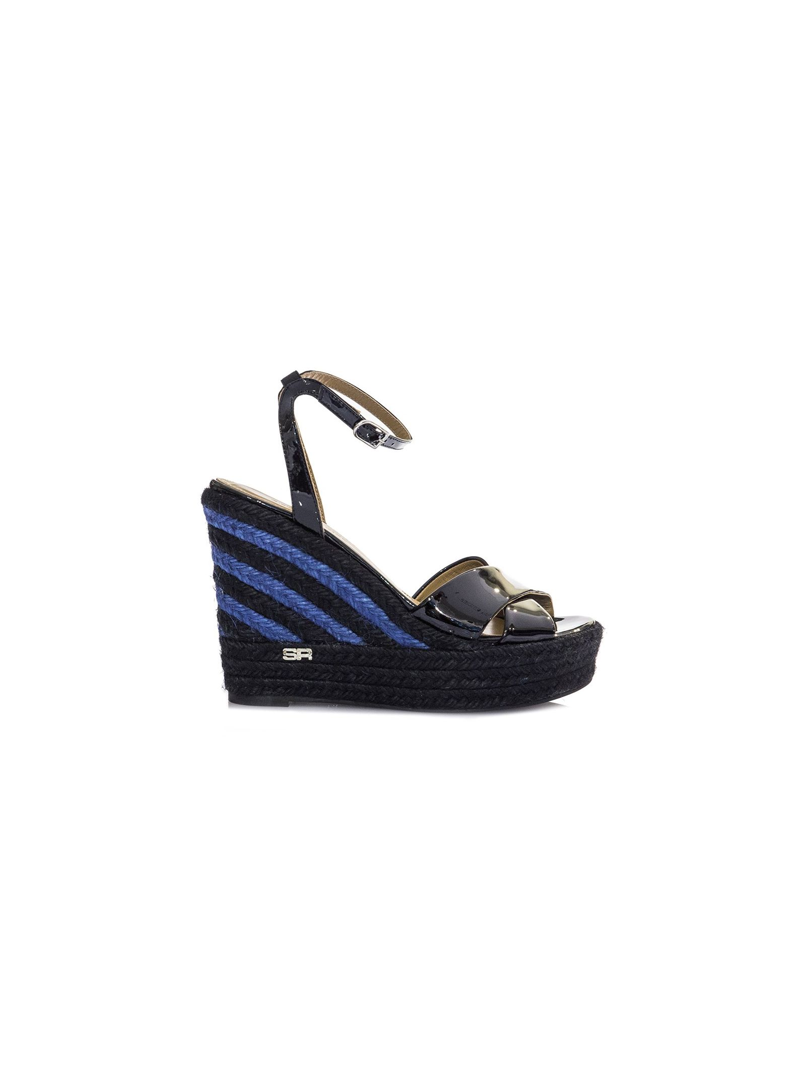 sonia rykiel maison female 188971 black varnish wedge sandals