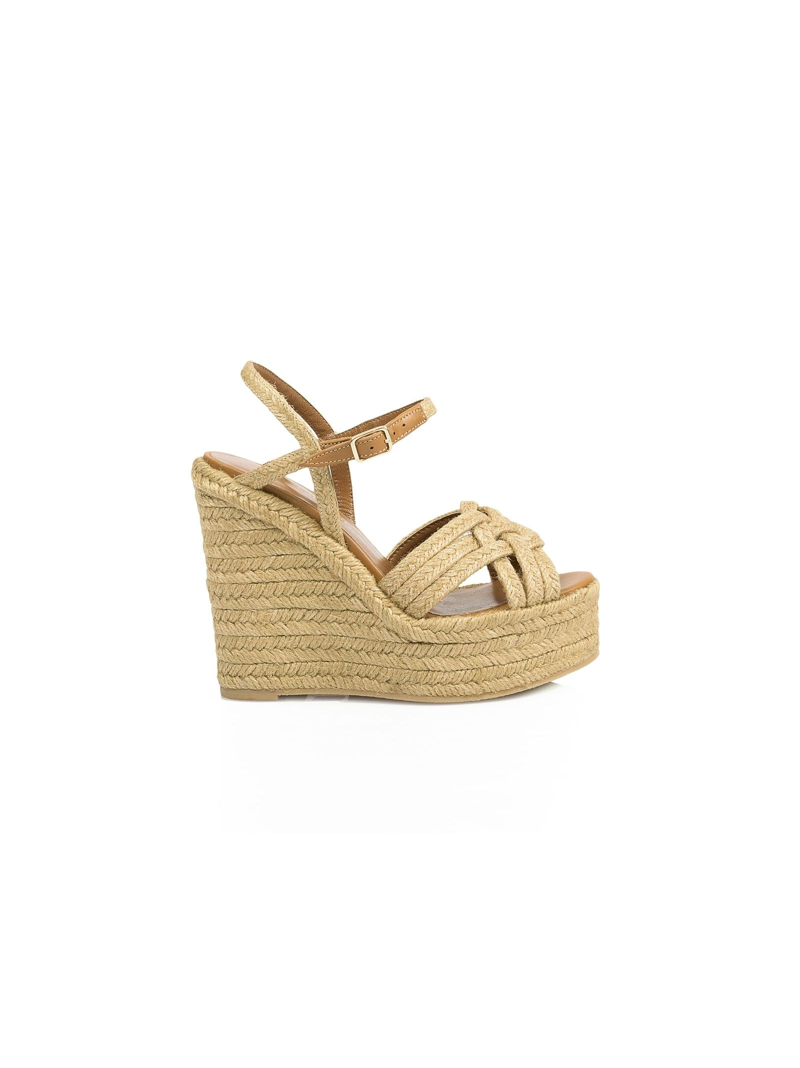 saint laurent female 211468 covered rope wedge sandals