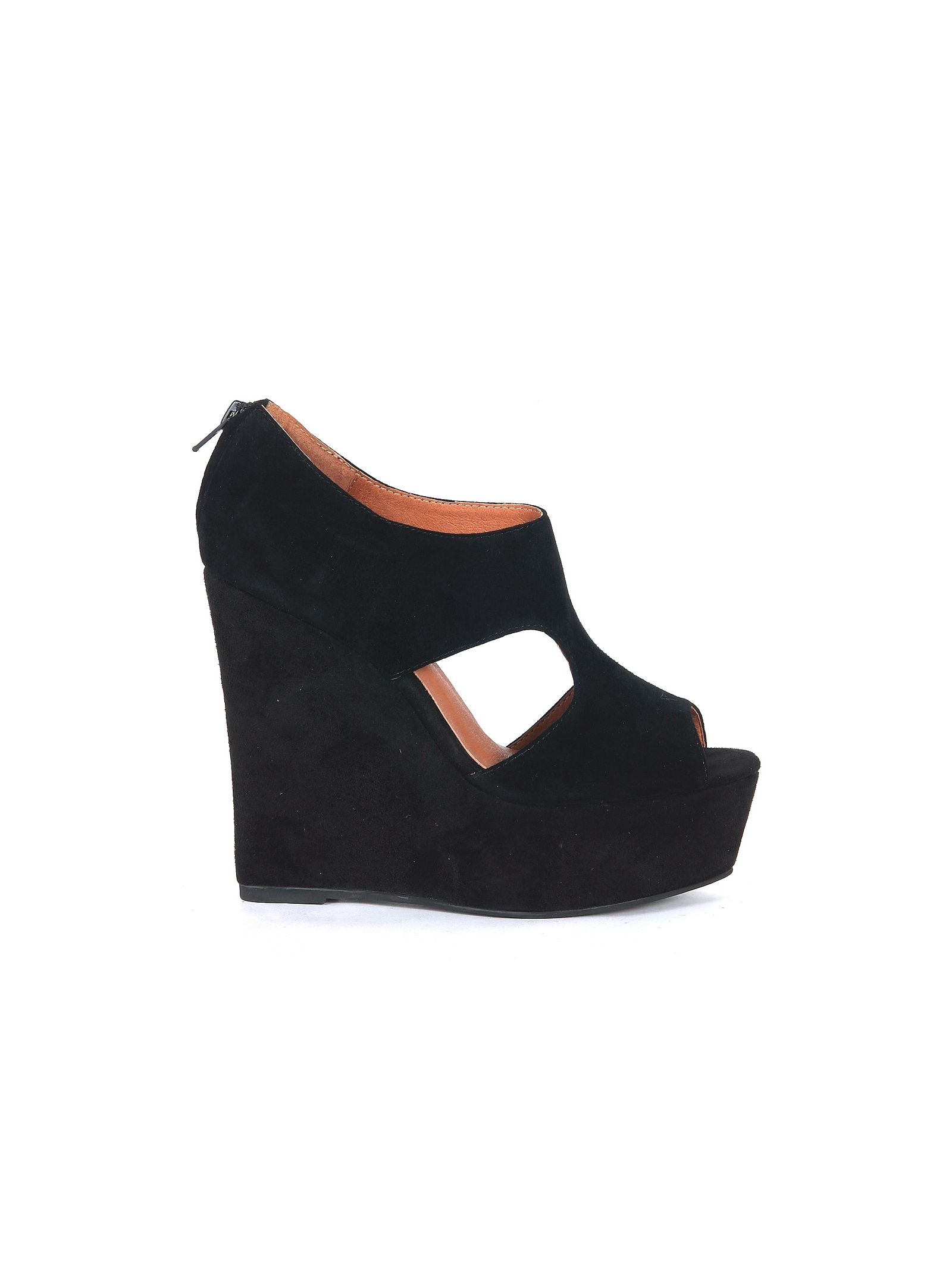 jeffrey campbell female  jeffrey campbell knute wedge sandal in black suede