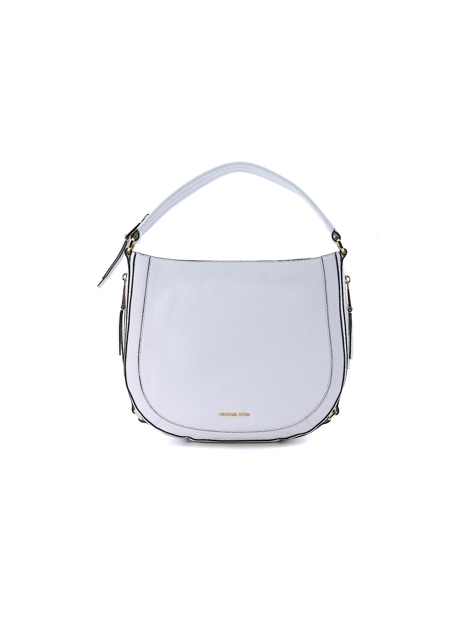 michael kors female  michael kors julia white leather shoulder bag