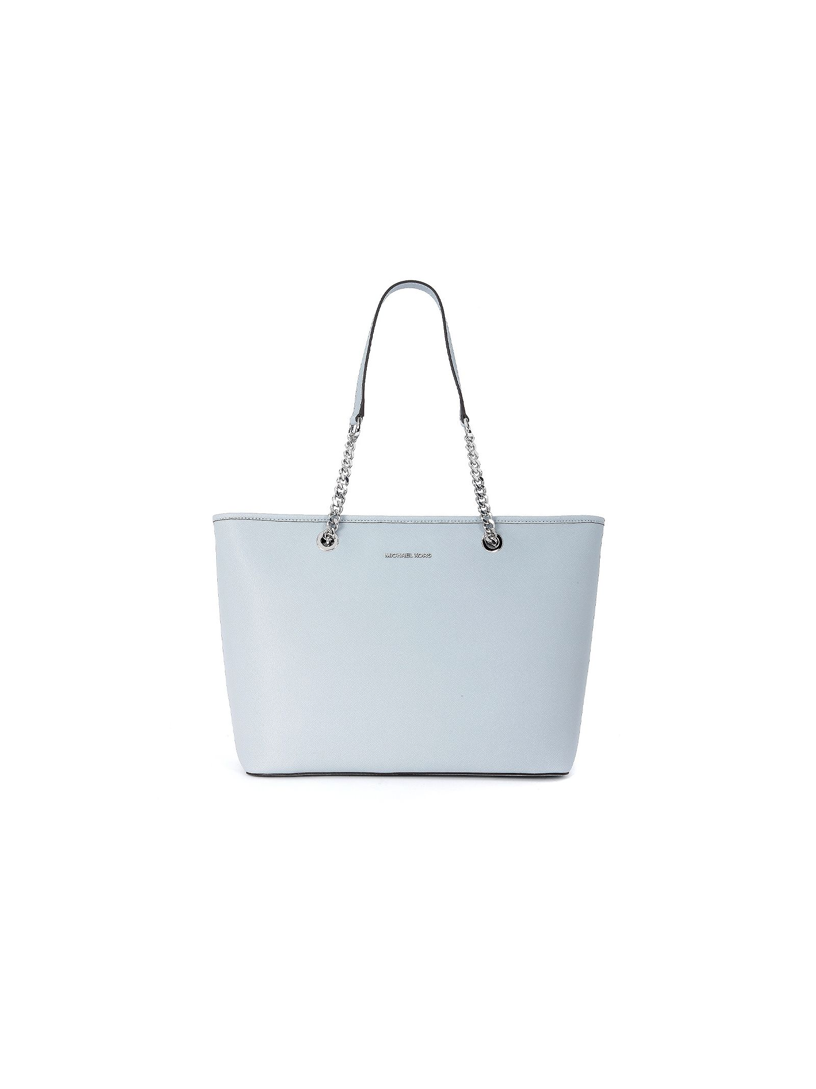 michael kors female  michael kors jet set travel chain shoulder bag in robins egg light blue saffiano leather