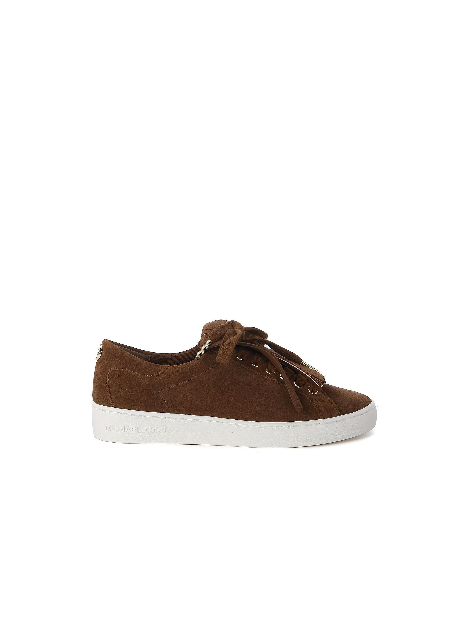 michael kors female  michael kors keaton kiltie sneakers in dark brown suede