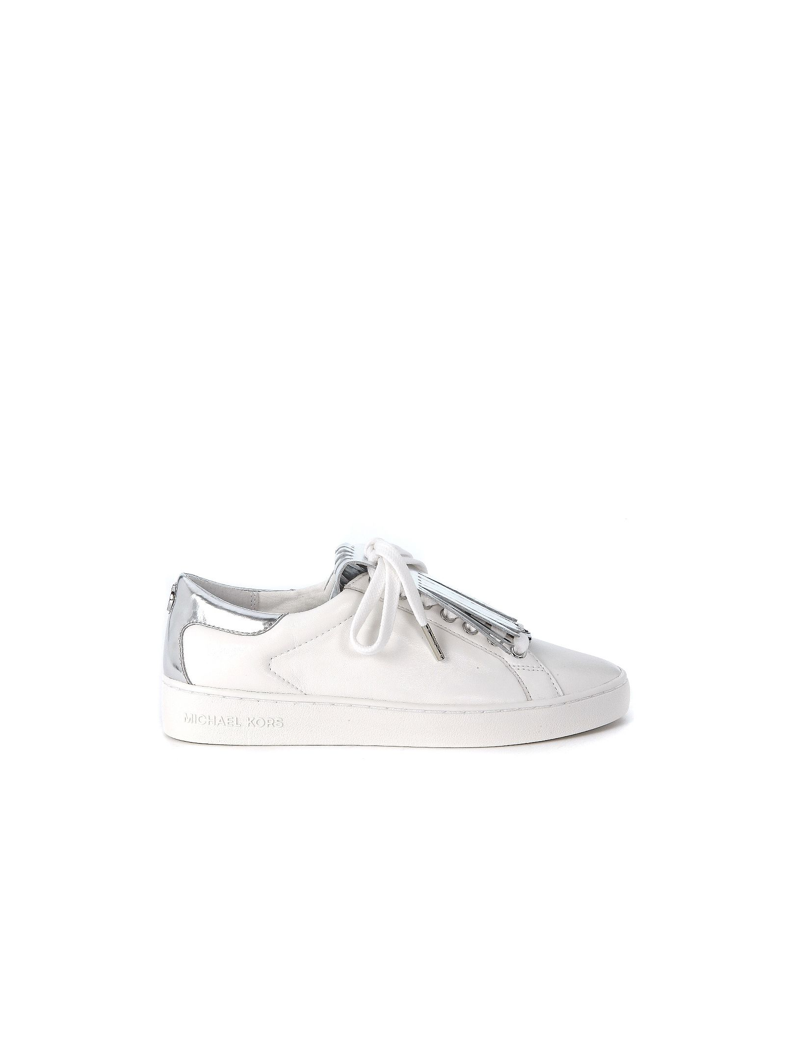 michael kors female  michael kors keaton kiltie sneaker in white leather with silver fringe