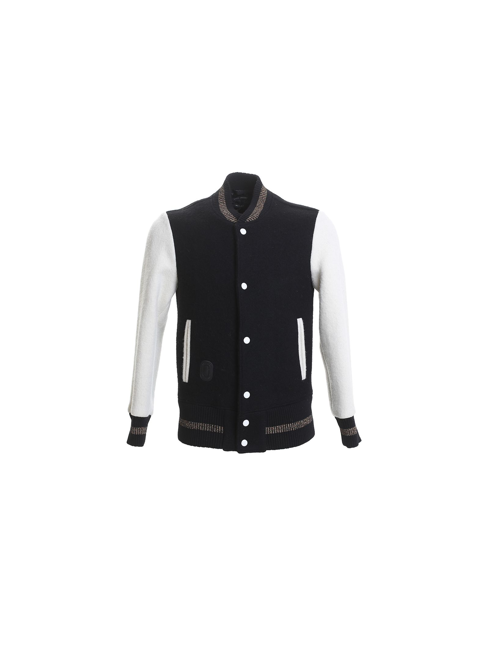 marc jacobs male 188971 blue and white wool cloth baseball jacket