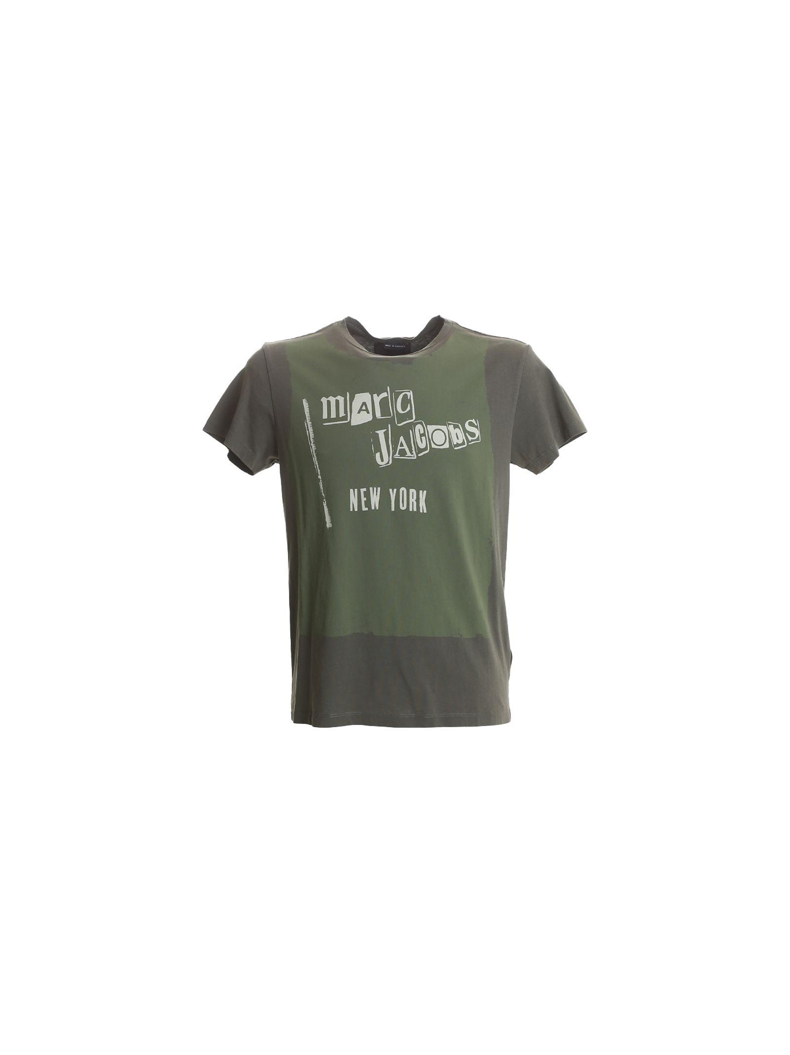 marc jacobs male 227429 military green cotton tshirt