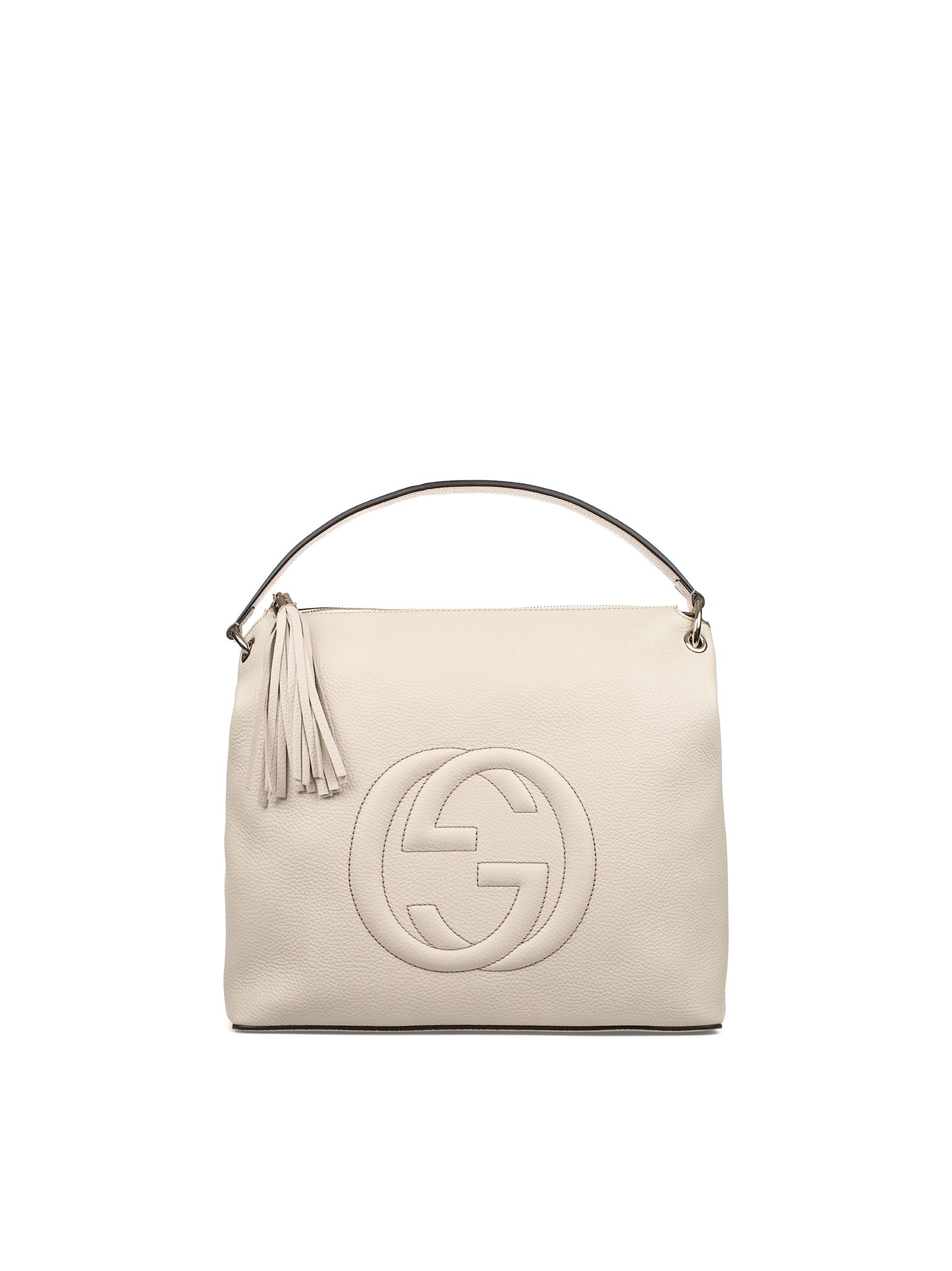 gucci female 45883 chalk soho hammered leather shoulder bag