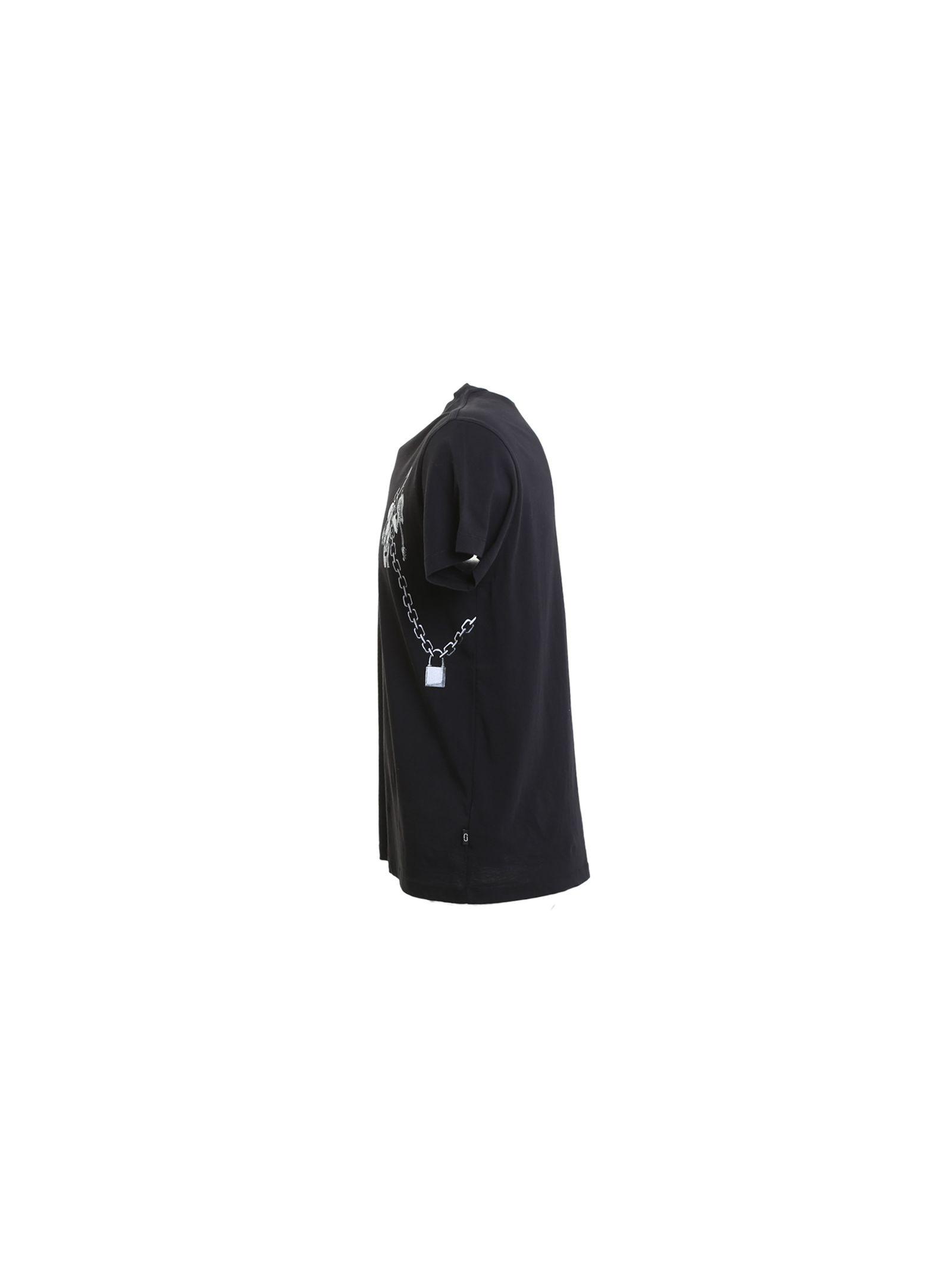 marc jacobs male 188971 printed black cotton tshirt