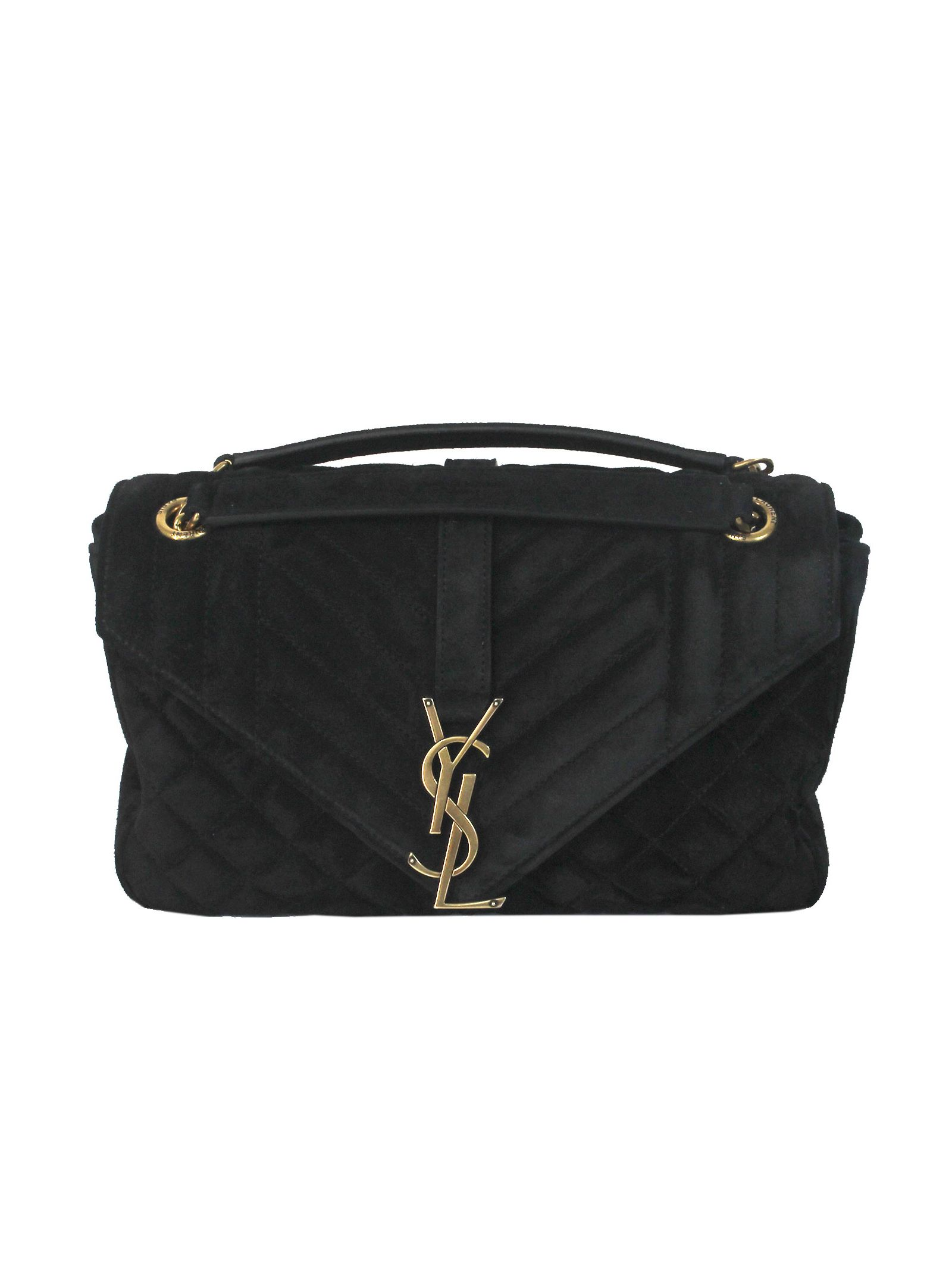 "Black Small ""monogramme"" Suede Shoulder Bag"
