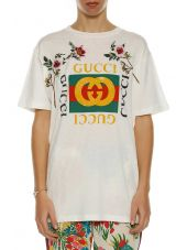 Gucci Printed Cotton Jersey T-shirt With Scrapings