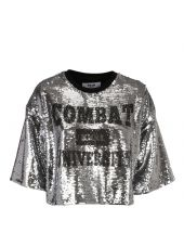 Msgm Sequined Cropped T-shirt