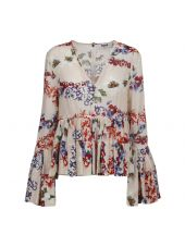 Msgm Floral Print Ruffled Blouse