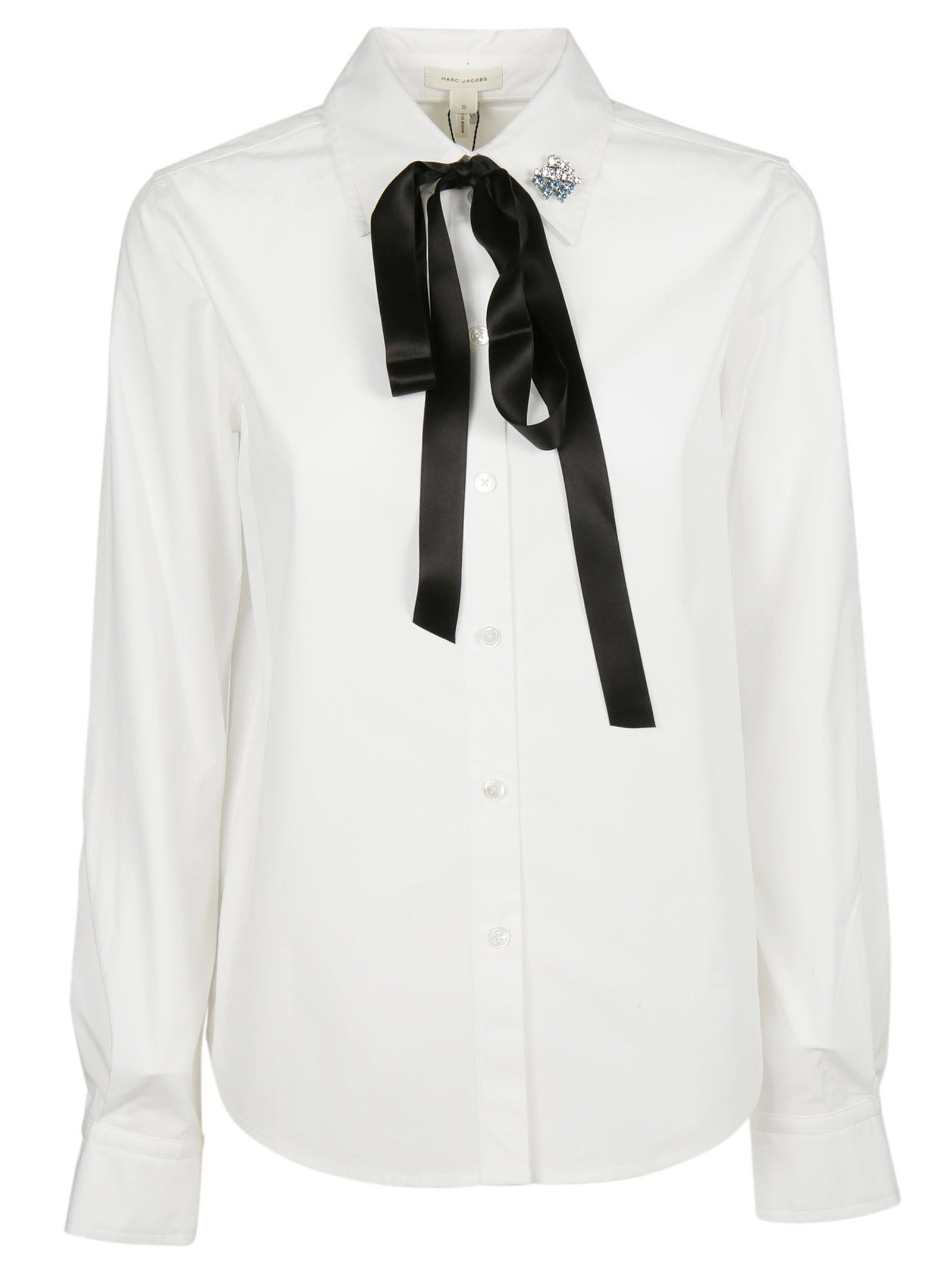 marc jacobs female marc jacobs embellished pin pussybow shirt