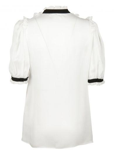 DOLCE & GABBANA Dolce & Gabbana Bow Ruffle Bib Blouse